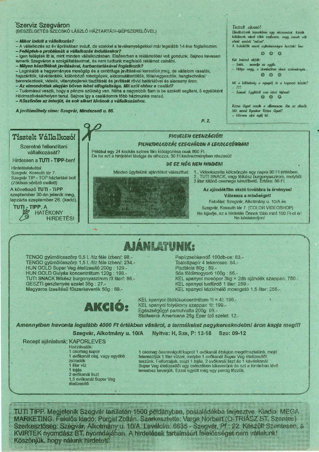 006 Tuti Tipp reklámújság - 19950916-003. lapszám -2.oldal - I. évfolyam.jpg