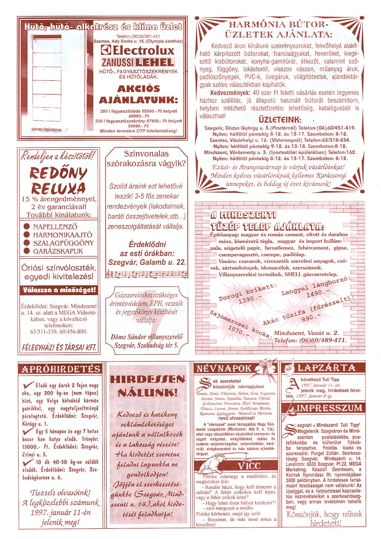 085 Szegvári és Mindszenti Tuti Tipp reklámújság - 19961221-038-015. lapszám - 2.oldal - II. évfolyam.jpg