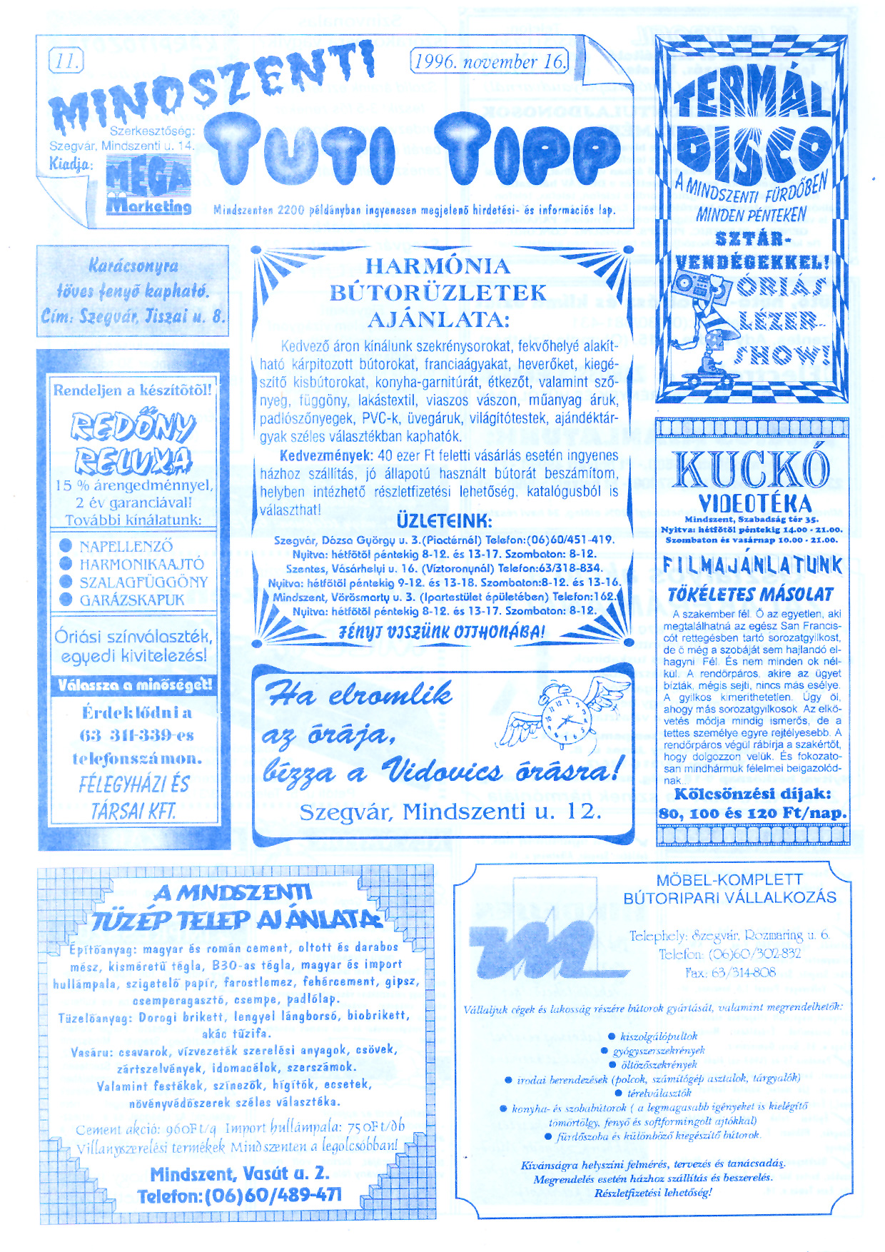 071 Mindszenti Tuti Tipp reklámújság - 19961116-011. lapszám - 1.oldal - II. évfolyam.jpg
