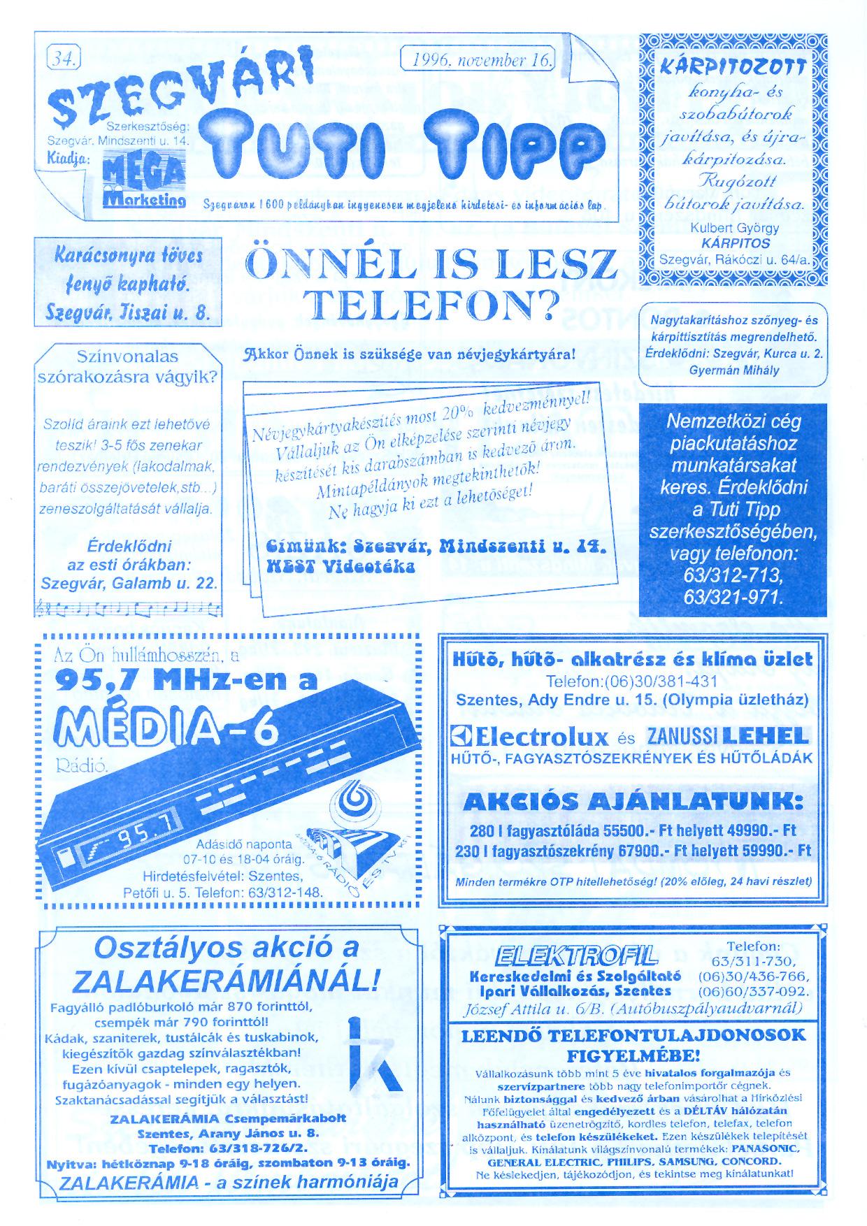 067 Szegvári Tuti Tipp reklámújság - 19961116-034. lapszám - 1.oldal - II. évfolyam.jpg