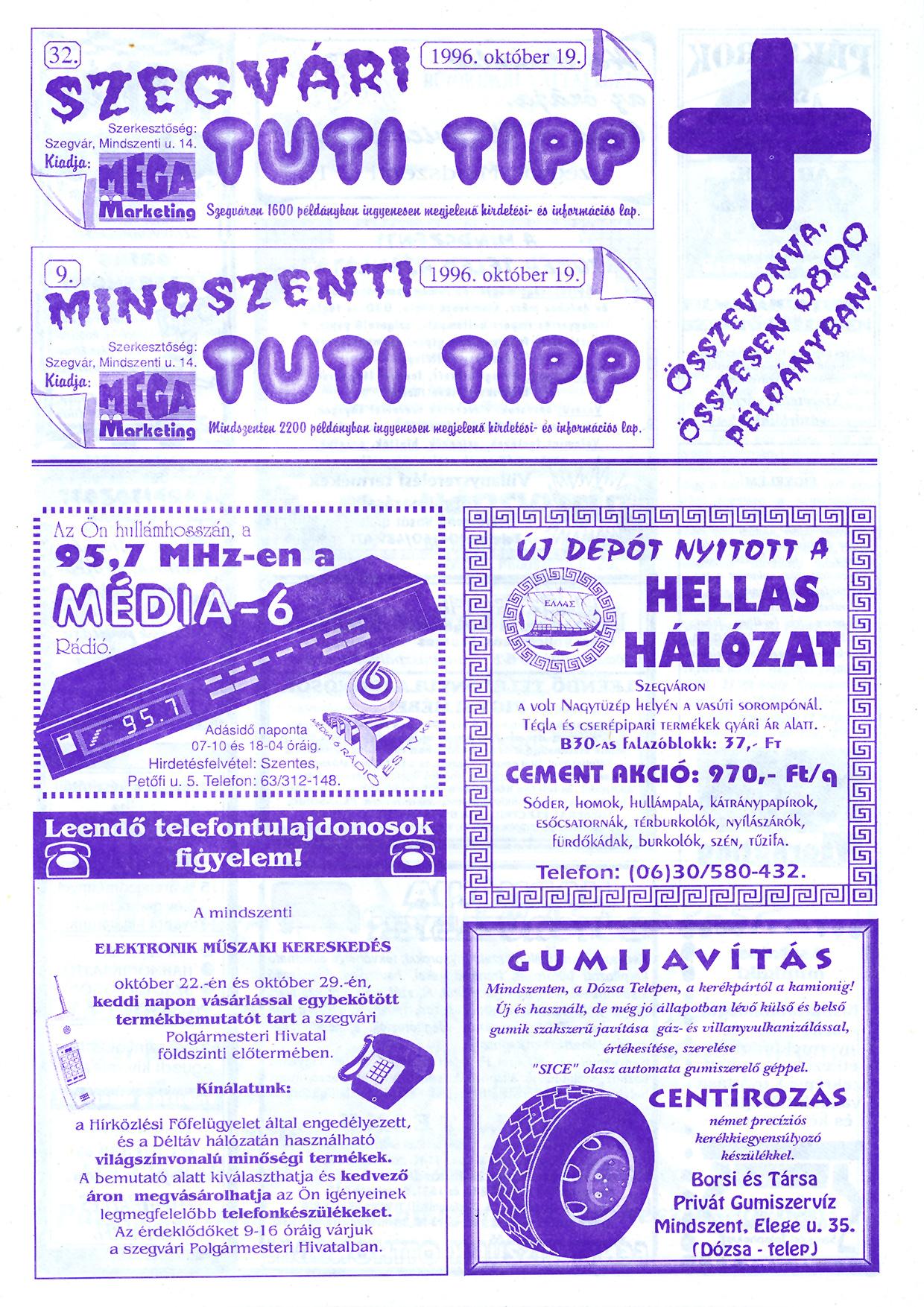 059 Szegvári és Mindszenti Tuti Tipp reklámújság - 19961019-032-009. lapszám - 1.oldal - II. évfolyam.jpg