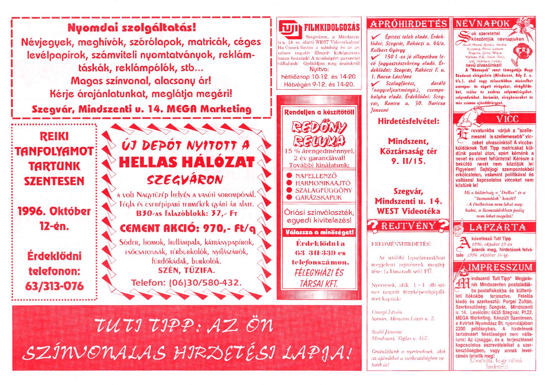 058 Mindszenti Tuti Tipp reklámújság - 19961005-008. lapszám - 2.oldal - II. évfolyam.jpg