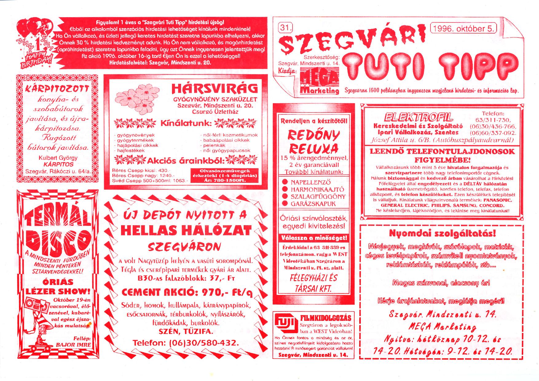 055 Szegvári Tuti Tipp reklámújság - 19961005-031. lapszám - 1.oldal - II. évfolyam.jpg