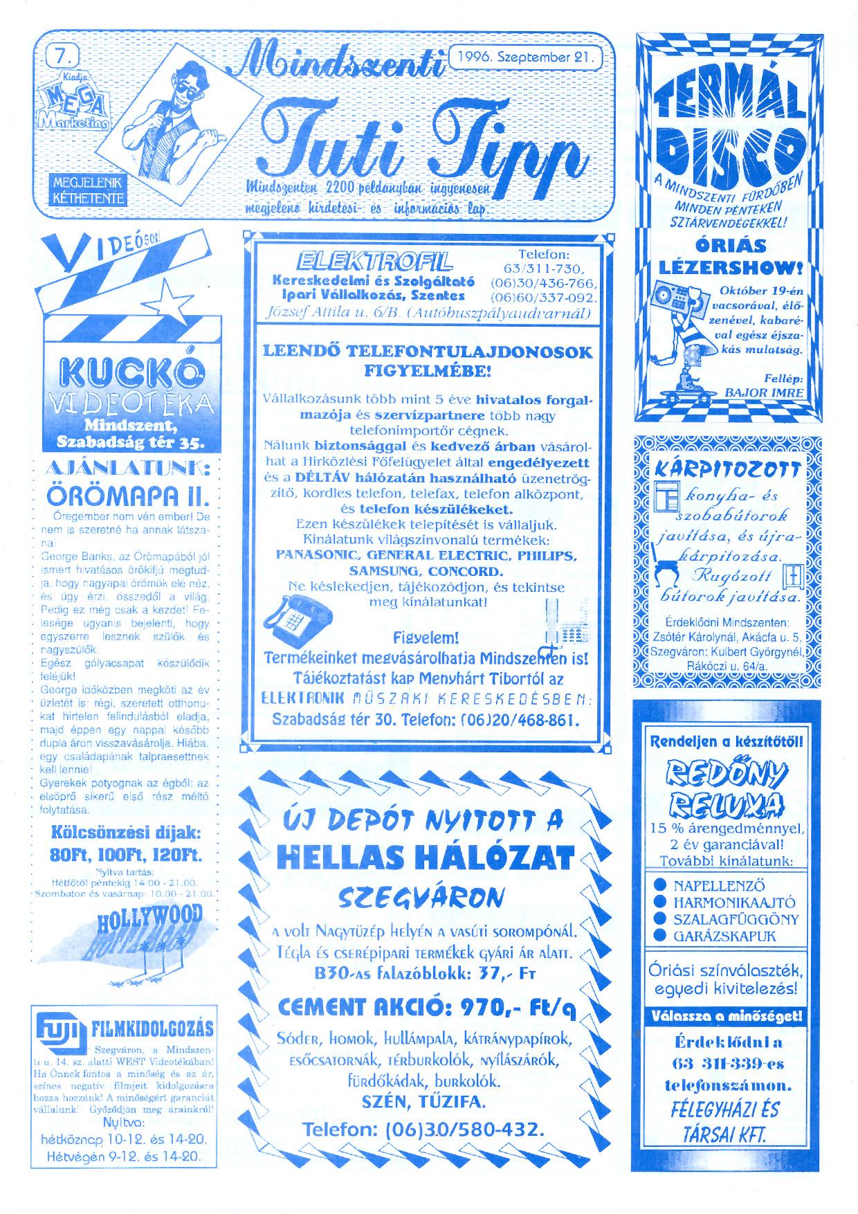 053 Mindszenti Tuti Tipp reklámújság - 19960921-007. lapszám - 1.oldal - II. évfolyam.jpg