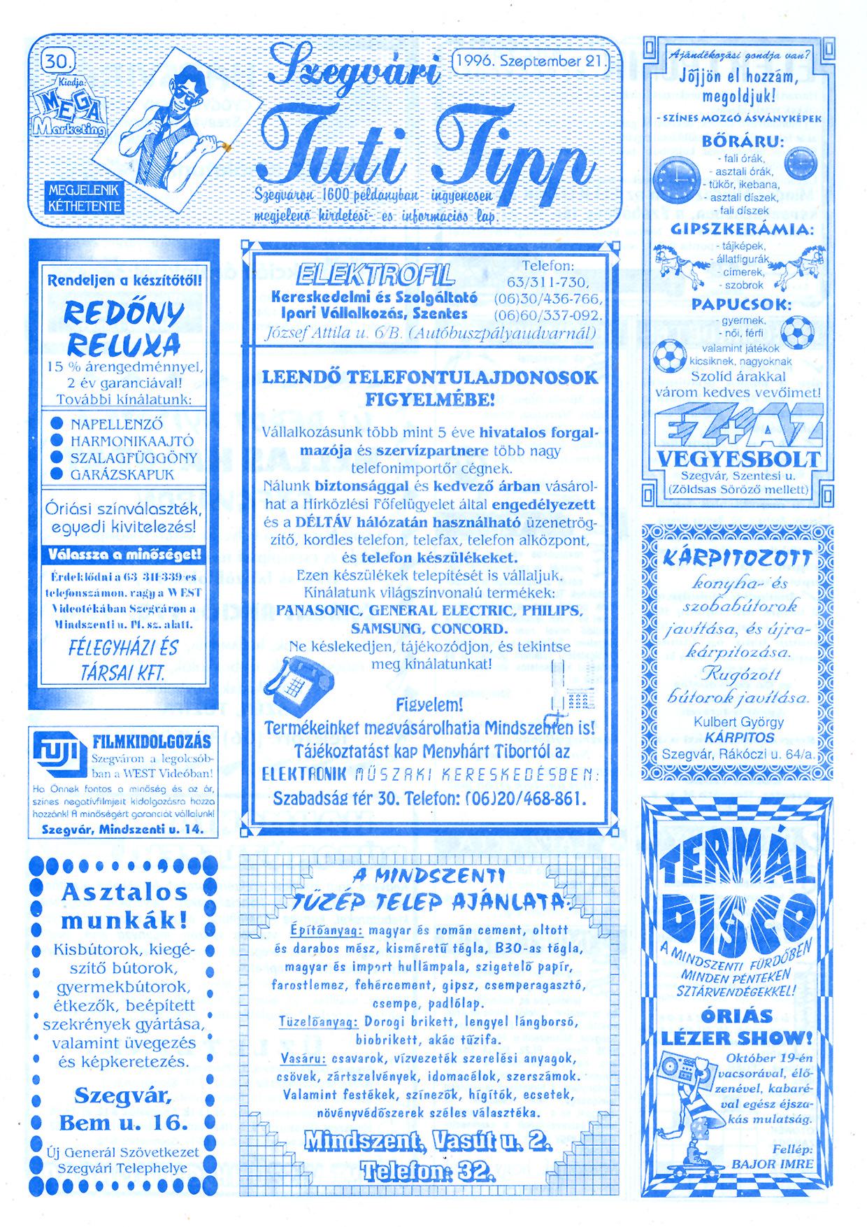 051 Szegvári Tuti Tipp reklámújság - 19960921-030. lapszám - 1.oldal - II. évfolyam.jpg
