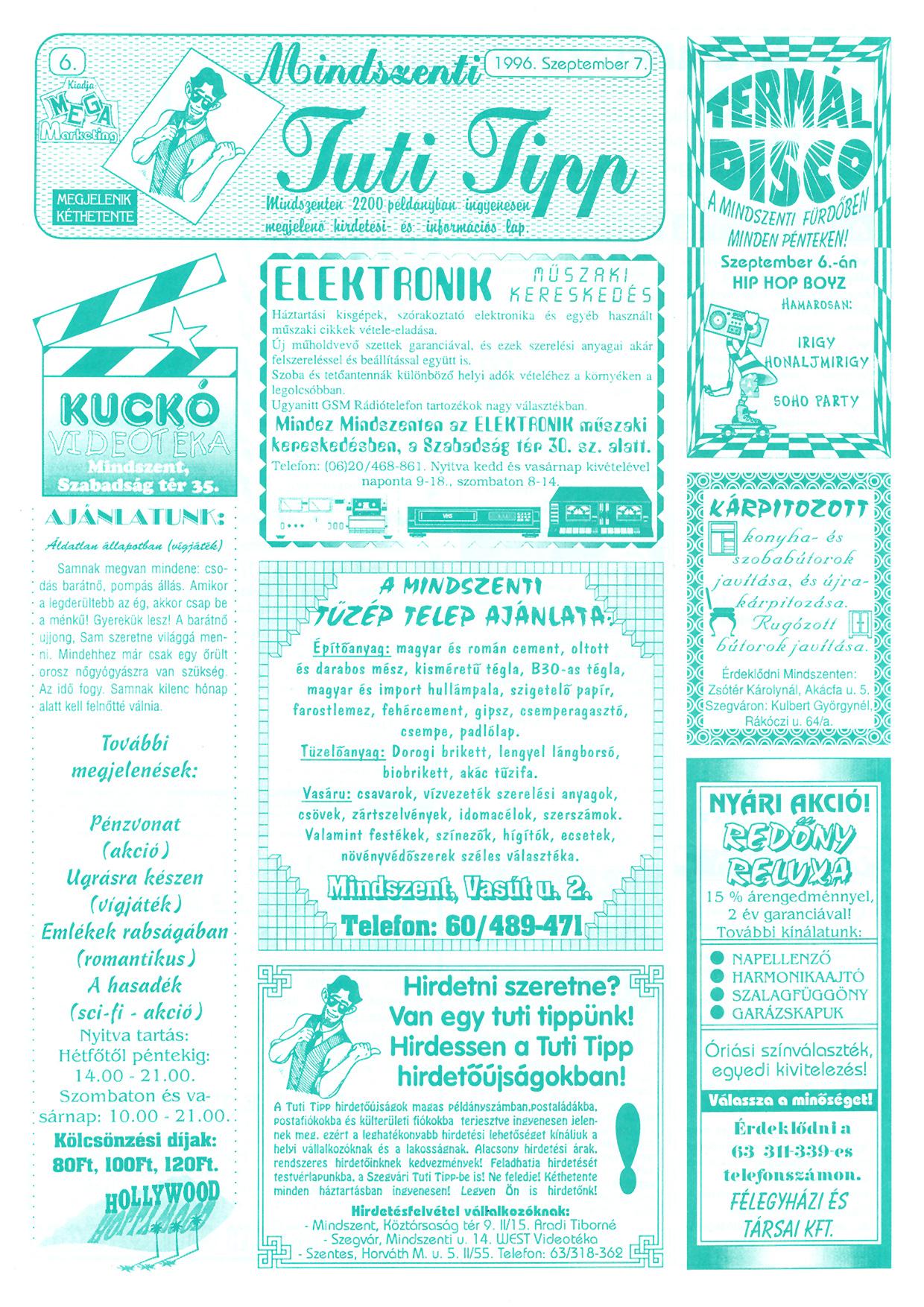 049 Mindszenti Tuti Tipp reklámújság - 19960907-006. lapszám - 1.oldal - II. évfolyam.jpg