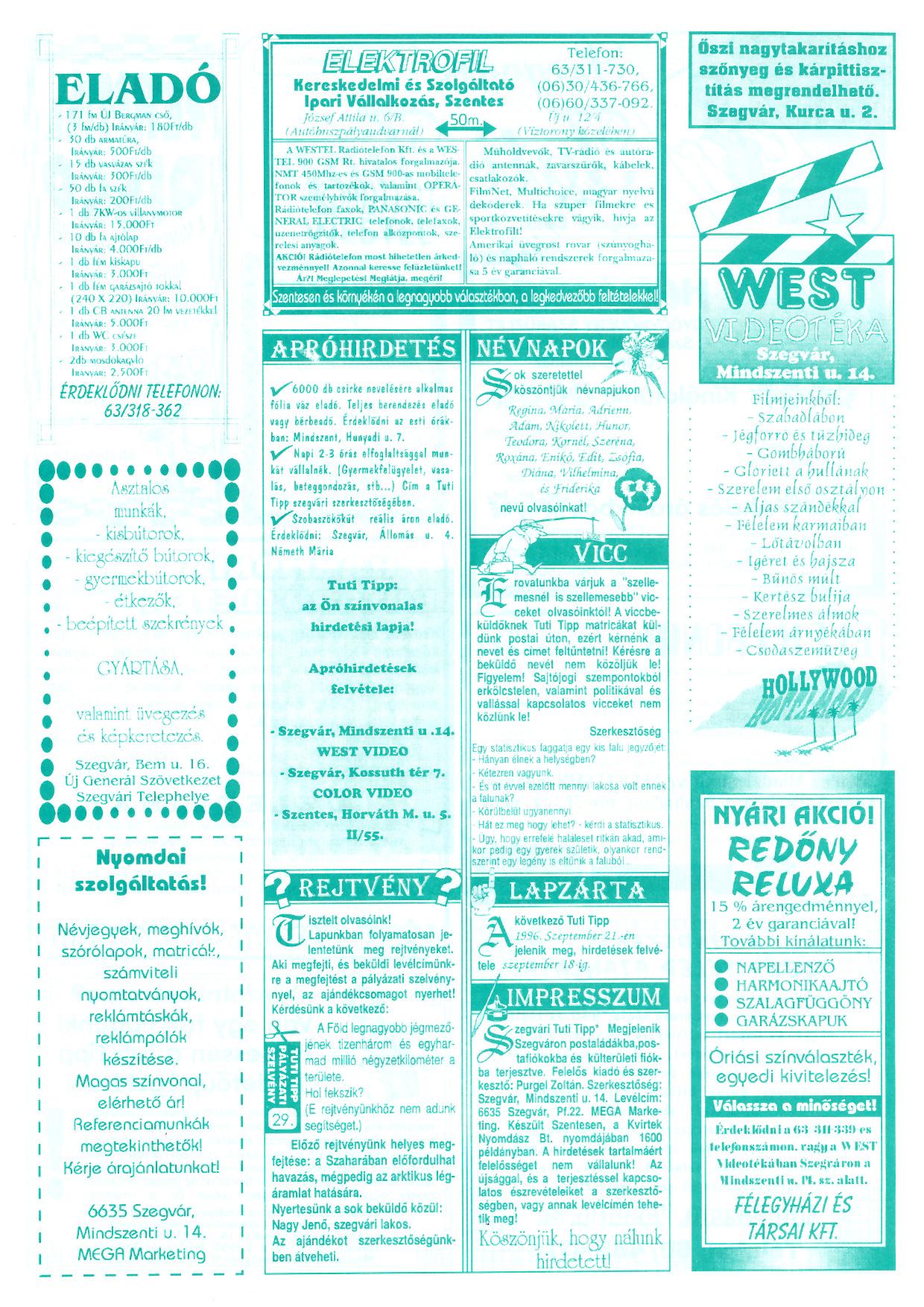 048 Szegvári Tuti Tipp reklámújság - 19960907-029. lapszám - 2.oldal - II. évfolyam.jpg