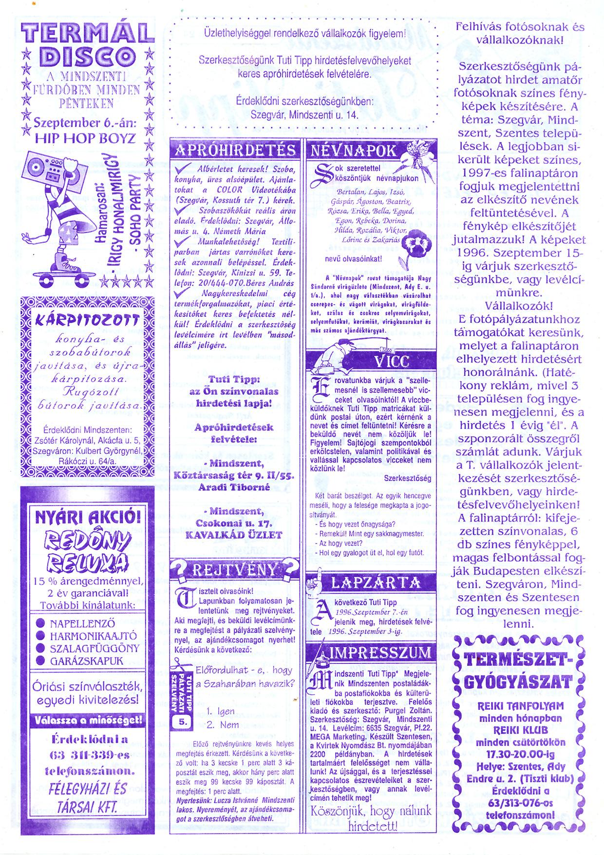 046 Mindszenti Tuti Tipp reklámújság - 19960824-005. lapszám - 2.oldal - II. évfolyam.jpg