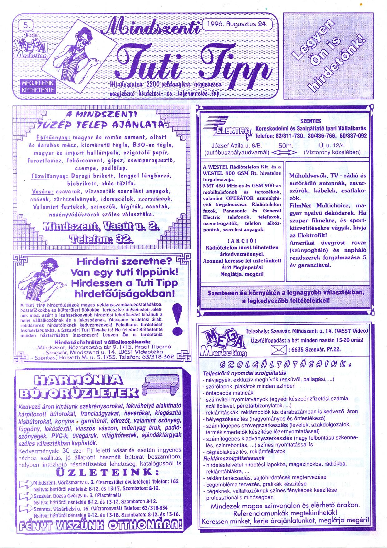 045 Mindszenti Tuti Tipp reklámújság - 19960824-005. lapszám - 1.oldal - II. évfolyam.jpg