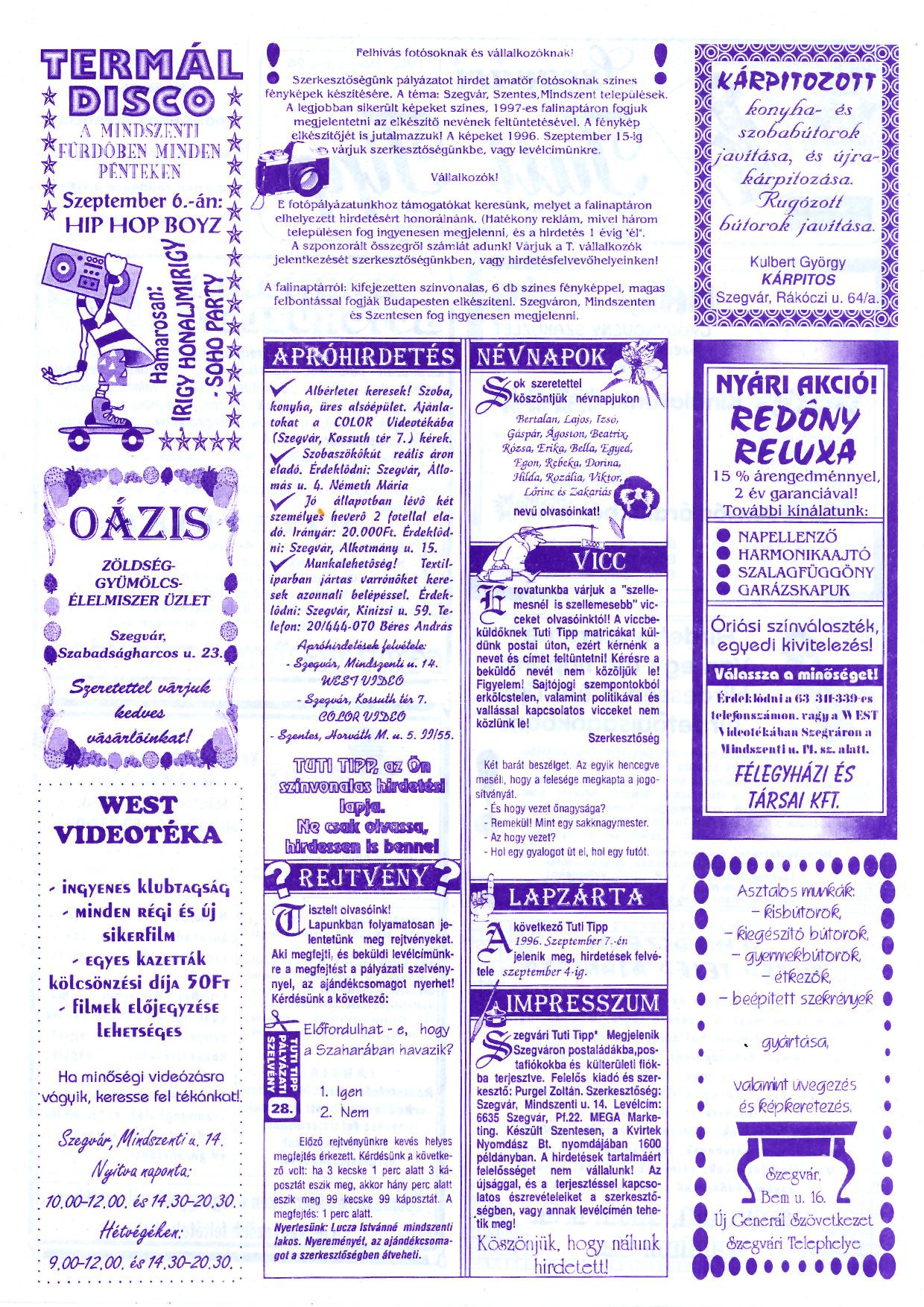 044 Szegvári Tuti Tipp reklámújság - 19960824-028. lapszám - 2.oldal - II. évfolyam.jpg