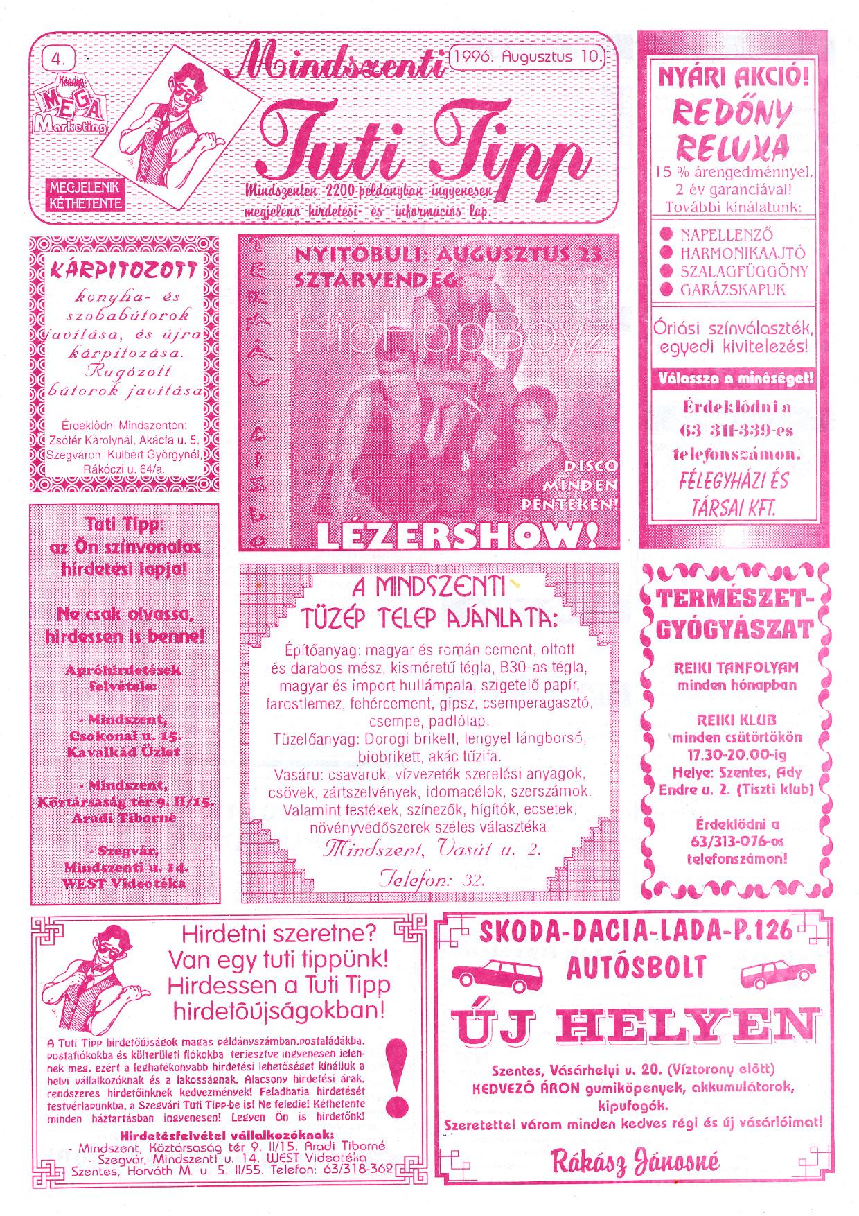 041 Mindszenti Tuti Tipp reklámújság - 19960810-004. lapszám - 1.oldal - II. évfolyam.jpg