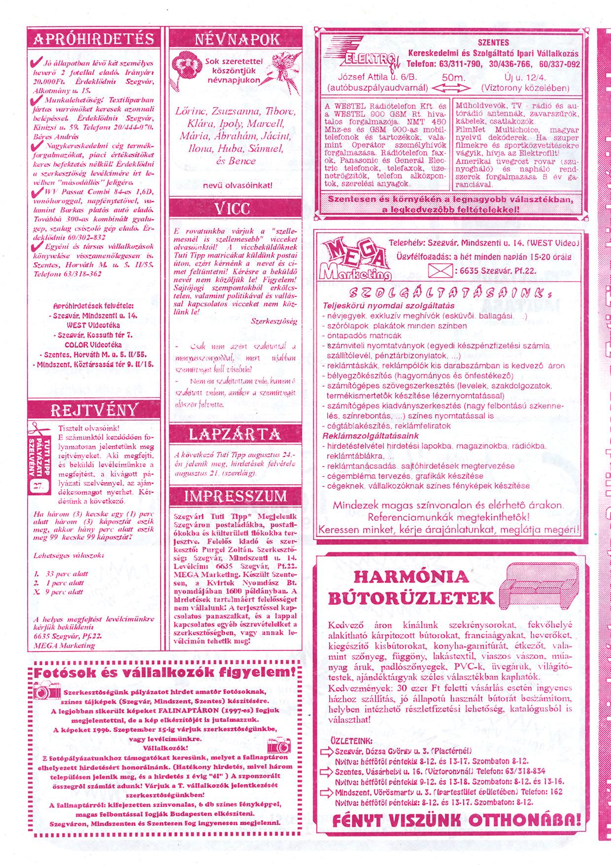 038 Szegvári Tuti Tipp reklámújság - 19960810-027. lapszám - 2.oldal - II. évfolyam.jpg