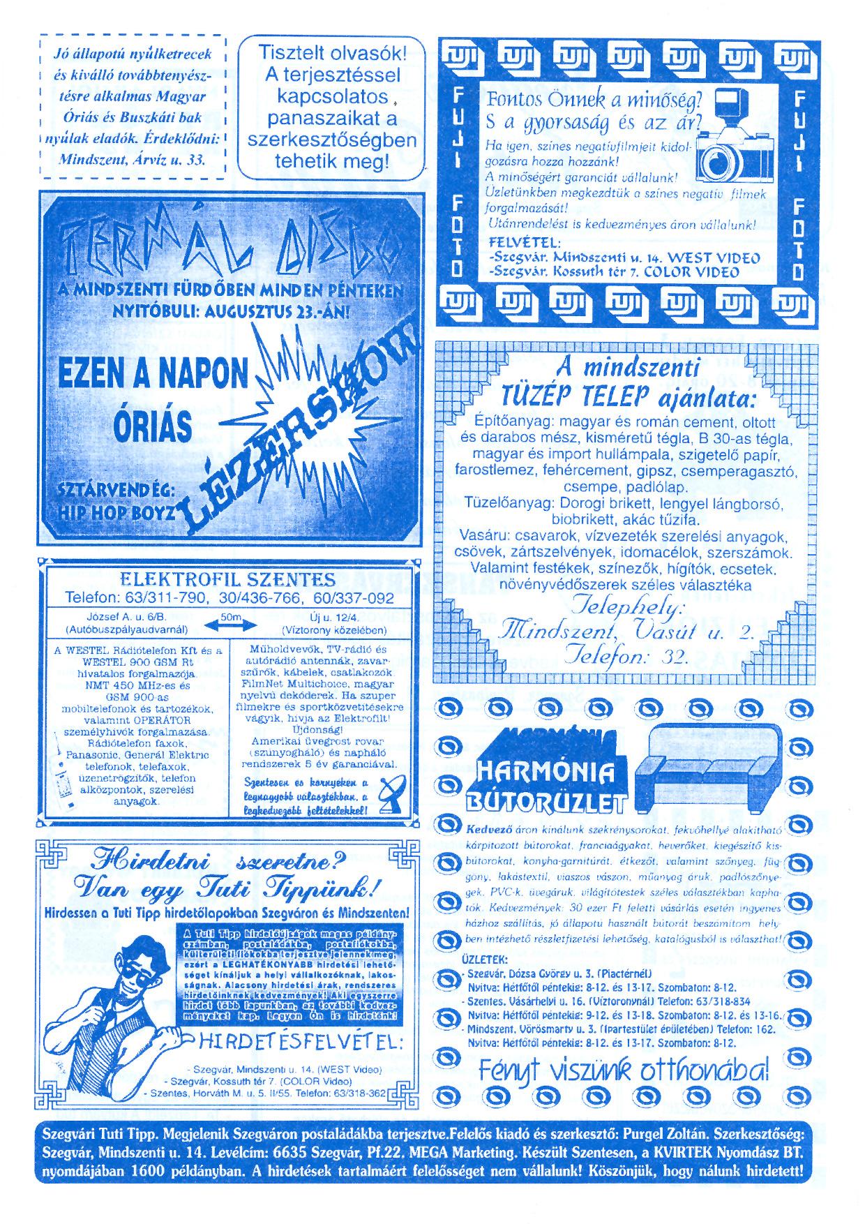 034 Szegvári Tuti Tipp reklámújság - 19960713-026. lapszám - 2.oldal - II. évfolyam.jpg