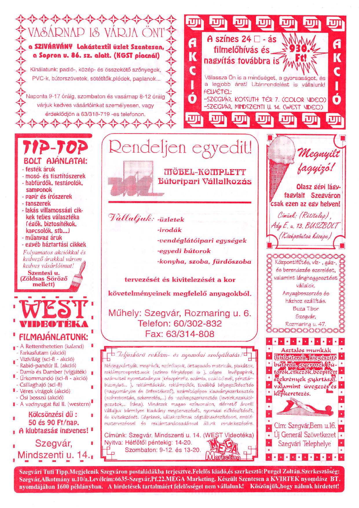 024 Szegvári Tuti Tipp reklámújság - 19960601-023. lapszám - 2.oldal - II. évfolyam.jpg