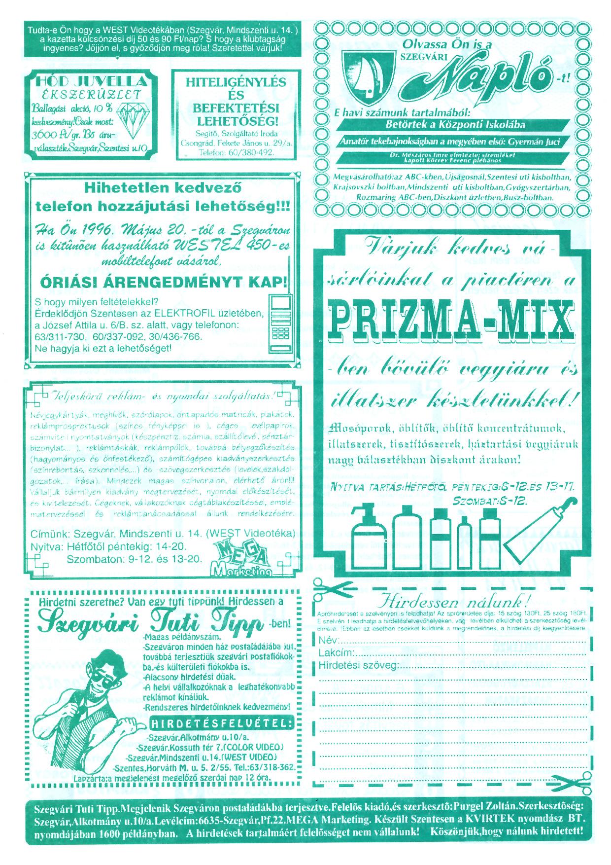 022 Szegvári Tuti Tipp reklámújság - 19960518-022. lapszám - 2.oldal - II. évfolyam.jpg