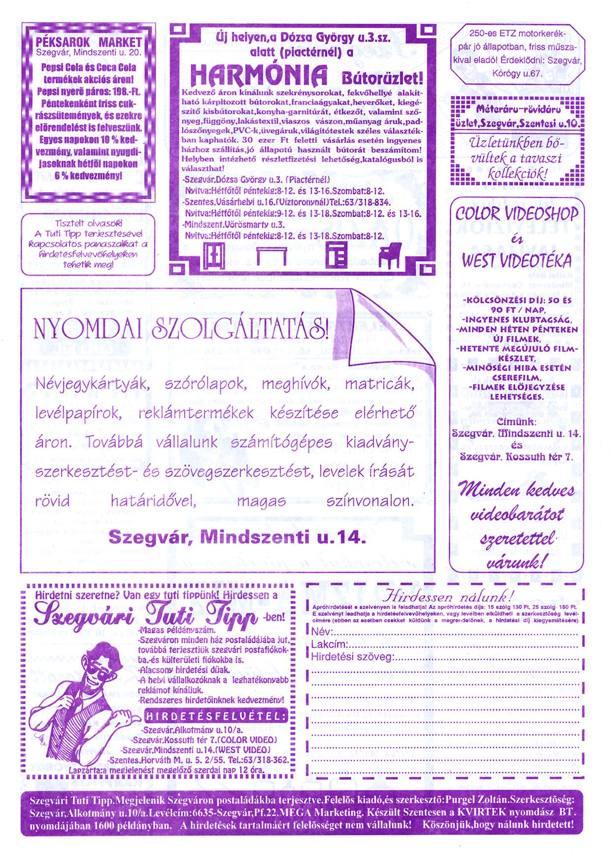 020 Szegvári Tuti Tipp reklámújság - 19960504-021. lapszám - 2.oldal - II. évfolyam.jpg