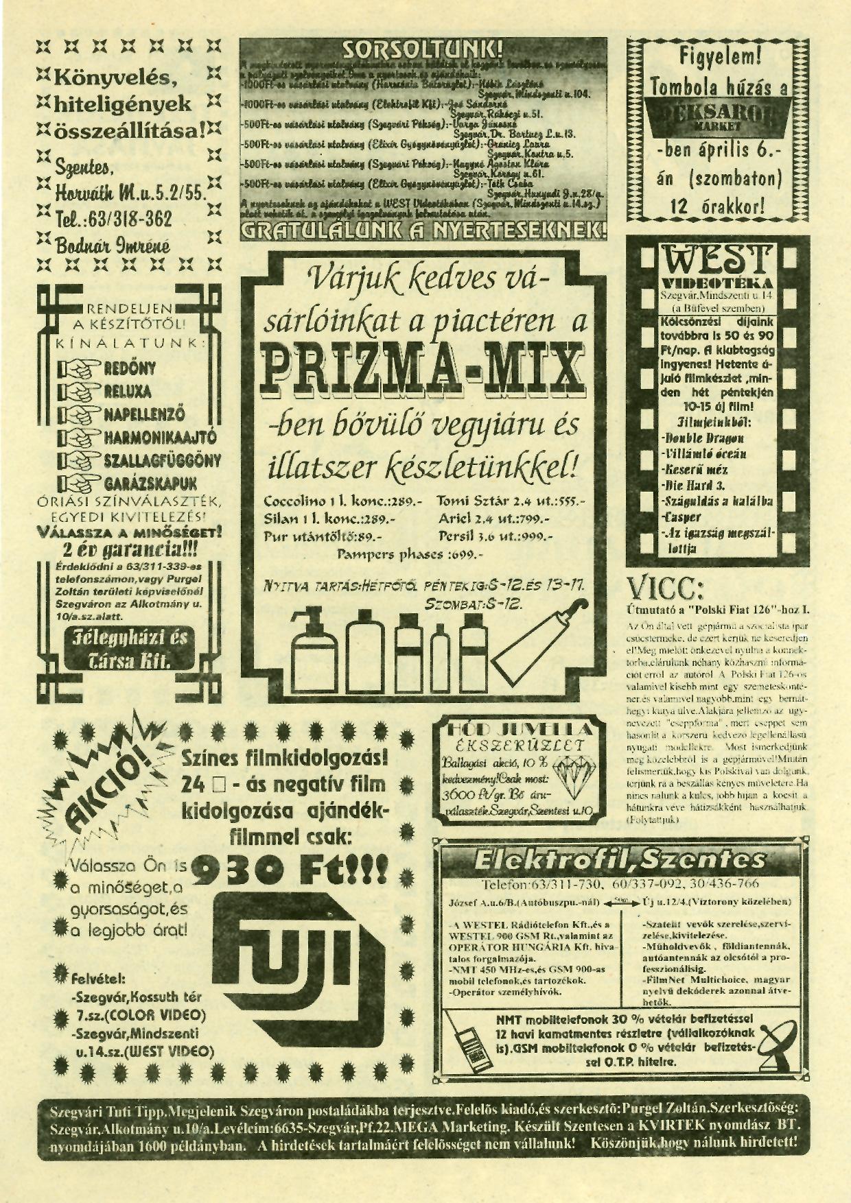 016 Szegvári Tuti Tipp reklámújság - 19960406-019. lapszám - 2.oldal - II. évfolyam.jpg