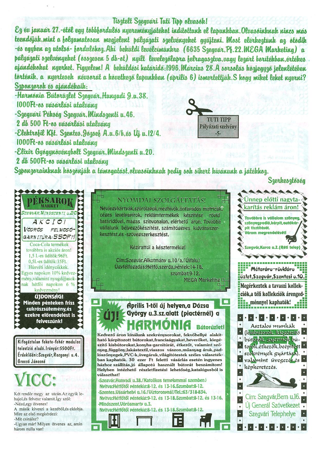 013 Szegvári Tuti Tipp reklámújság - 19960323-018. lapszám - 3.oldal - II. évfolyam.jpg