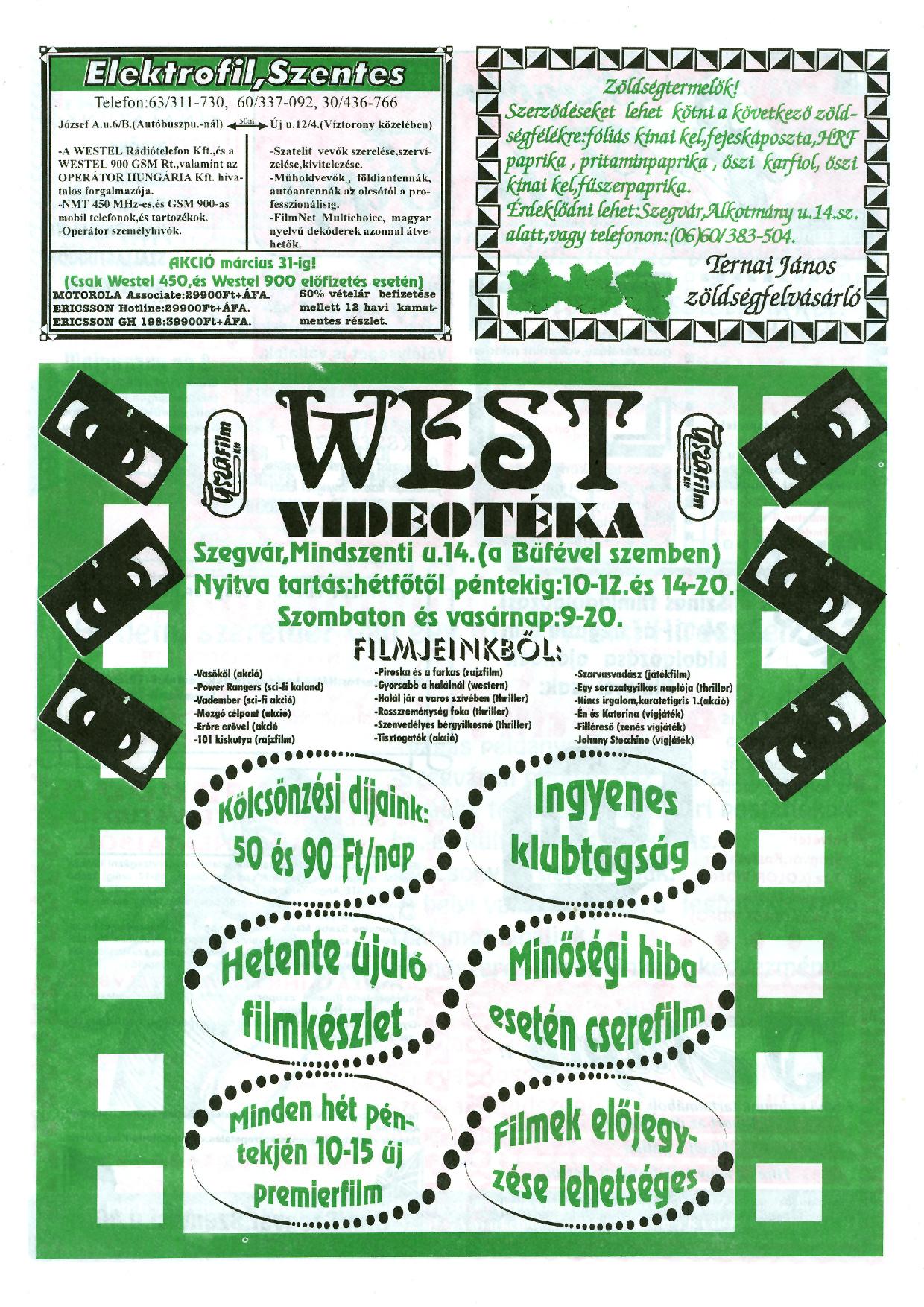 012 Szegvári Tuti Tipp reklámújság - 19960323-018. lapszám - 2.oldal - II. évfolyam.jpg
