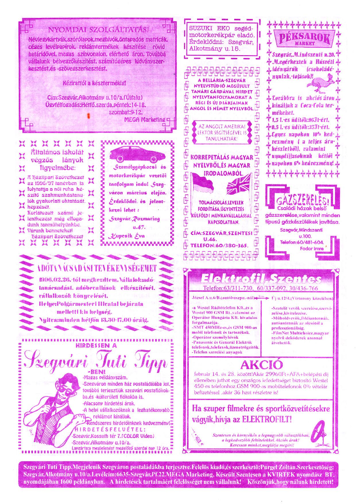 008 Szegvári Tuti Tipp reklámújság - 19960224-016. lapszám - 2.oldal - II. évfolyam.jpg
