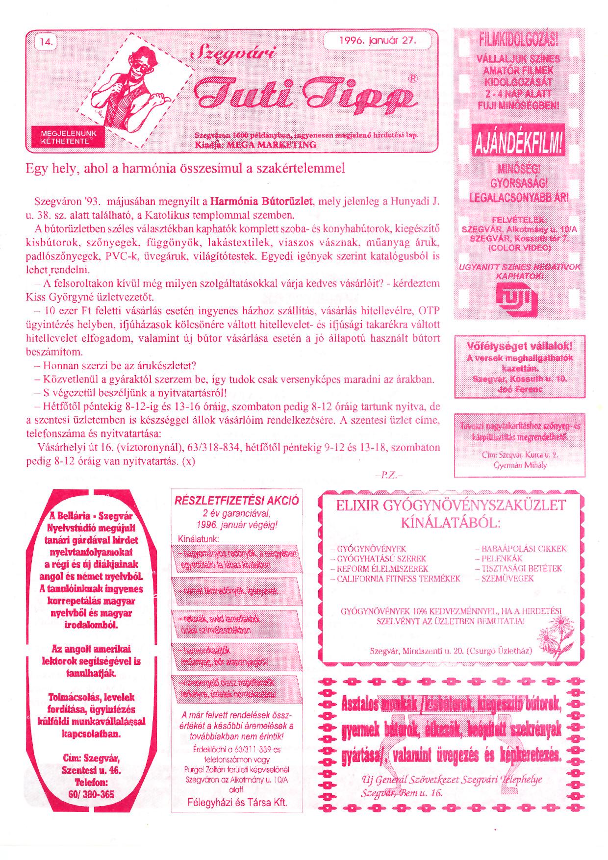 003 Szegvári Tuti Tipp reklámújság - 19960127-014. lapszám - 1.oldal - II. évfolyam.jpg