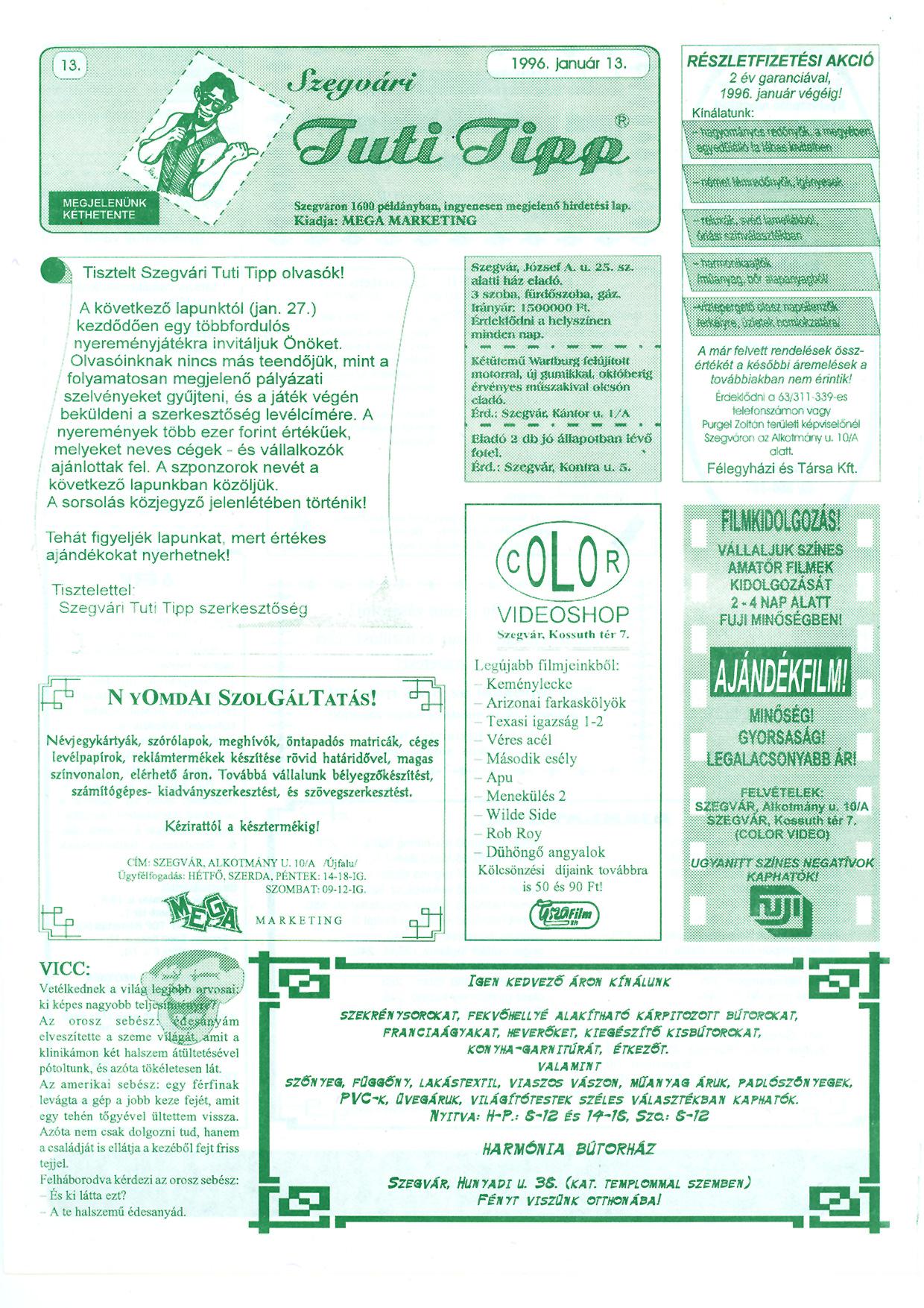 001 Szegvári Tuti Tipp reklámújság - 19960113-013. lapszám - 1.oldal - II. évfolyam.jpg