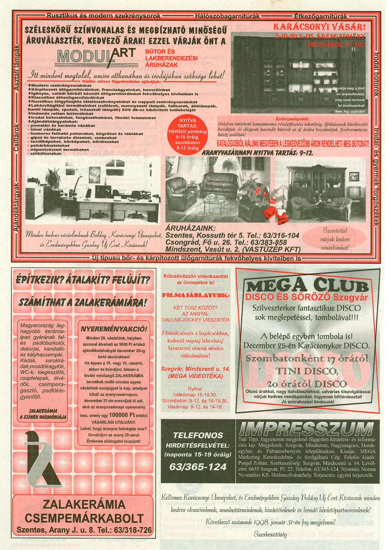 052 Tuti Tipp reklámújság - 19971217-077. lapszám - 2.oldal - III. évfolyam.jpg