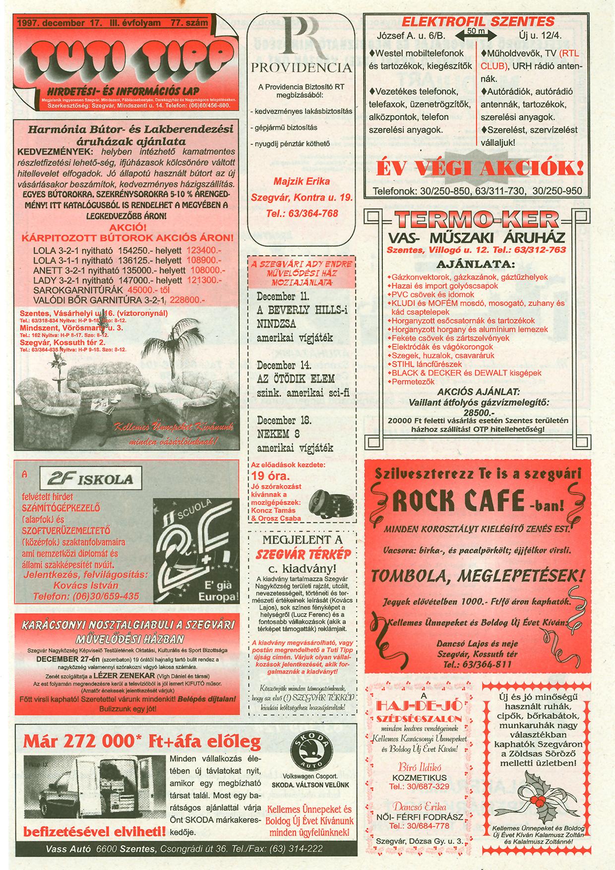 051 Tuti Tipp reklámújság - 19971217-077. lapszám - 1.oldal - III. évfolyam.jpg
