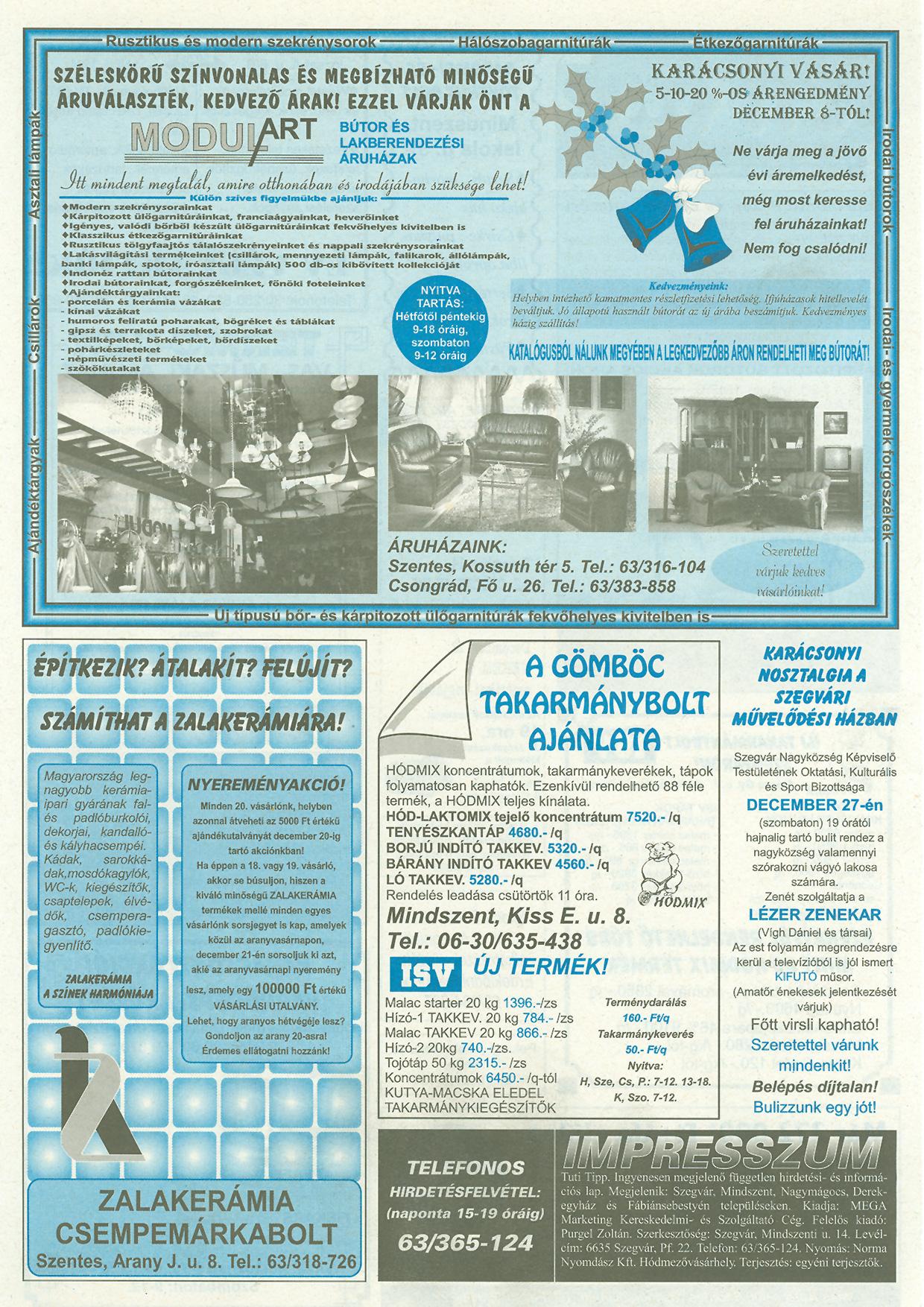 050 Tuti Tipp reklámújság - 19971210-076. lapszám - 2.oldal - III. évfolyam.jpg