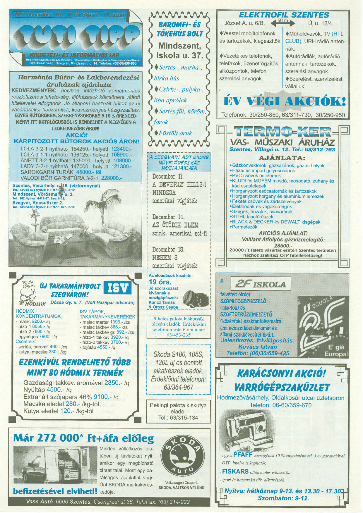 049 Tuti Tipp reklámújság - 19971210-076. lapszám - 1.oldal - III. évfolyam.jpg