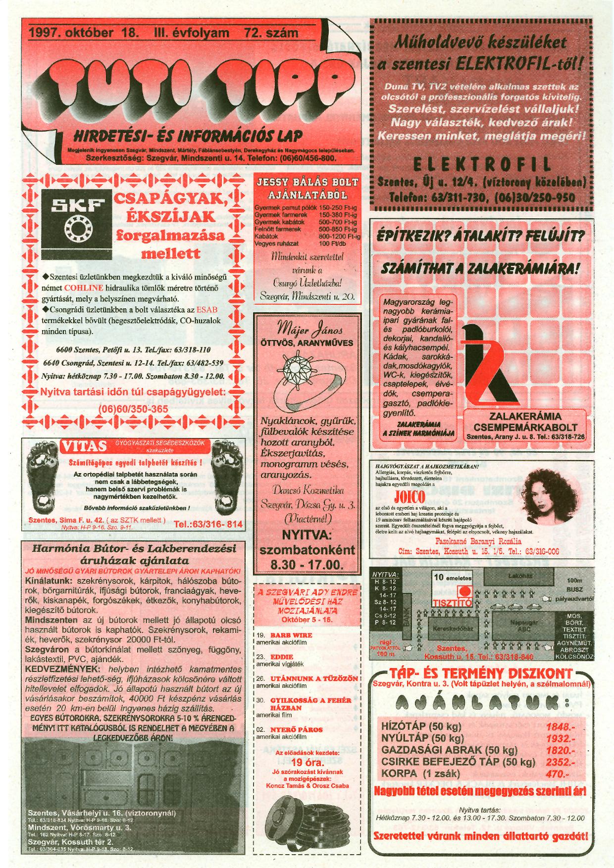 039 Tuti Tipp reklámújság - 19971018-072. lapszám - 1.oldal - III. évfolyam.jpg