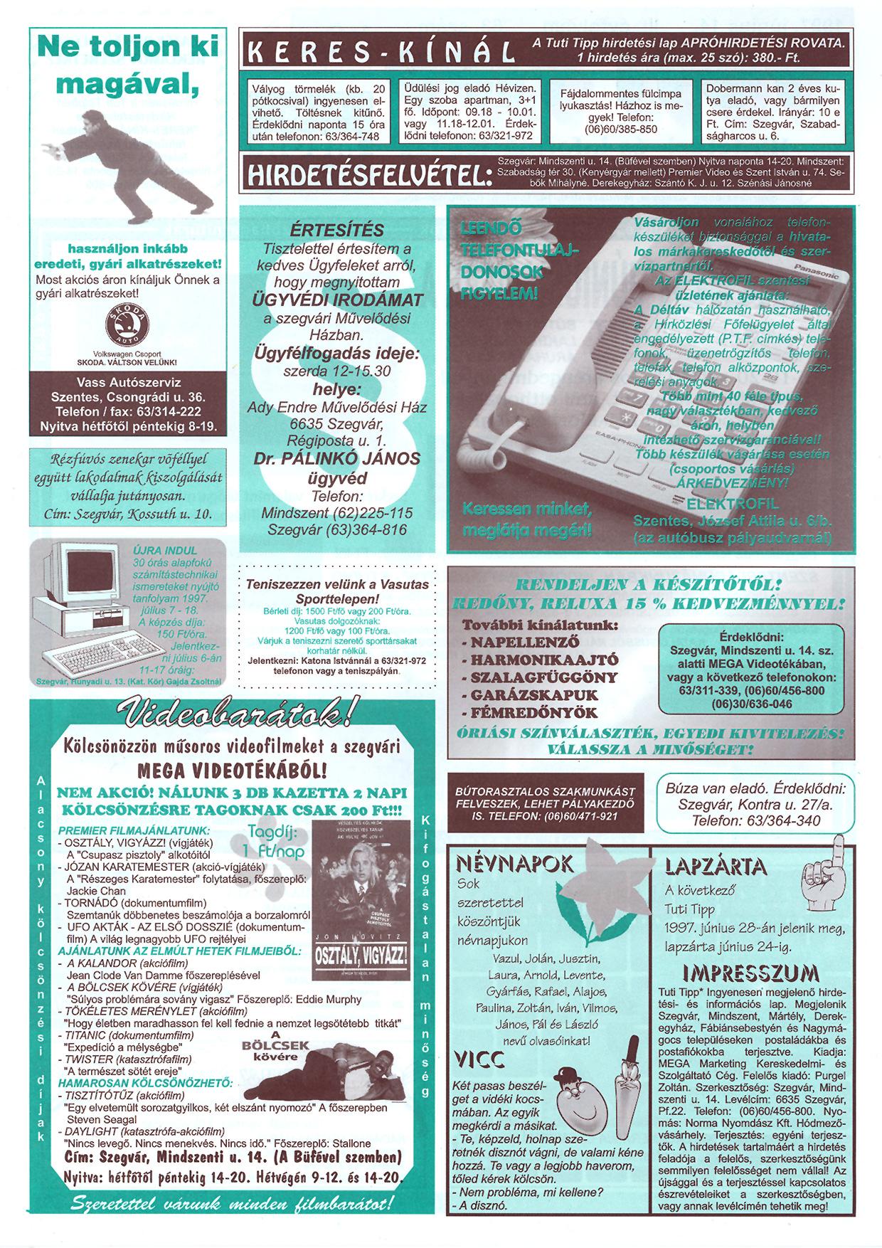 020 Tuti Tipp reklámújság - 19970614-063. lapszám - 2.oldal - III. évfolyam.jpg