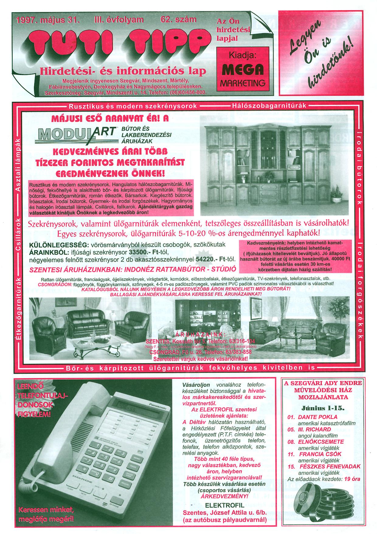 017 Tuti Tipp reklámújság - 19970531-062. lapszám - 1.oldal - III. évfolyam.jpg
