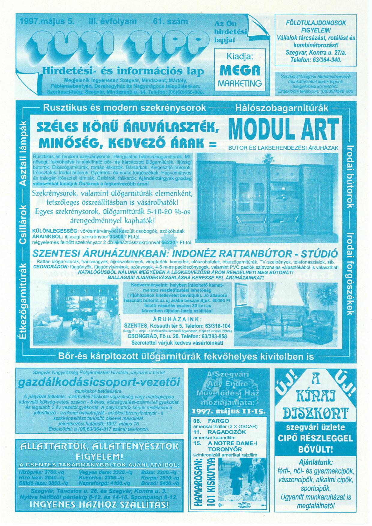 015 Tuti Tipp reklámújság - 19970505-061. lapszám - 1.oldal - III. évfolyam.jpg