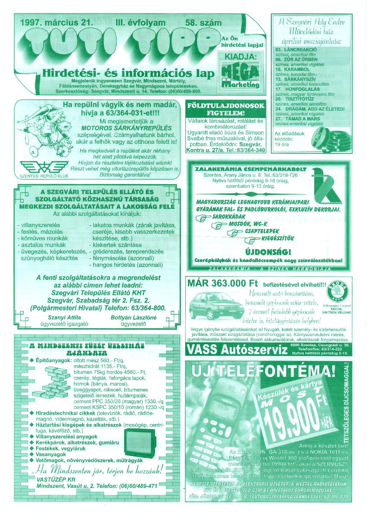 009 Tuti Tipp reklámújság - 19970321-058. lapszám - 1.oldal - III. évfolyam.jpg