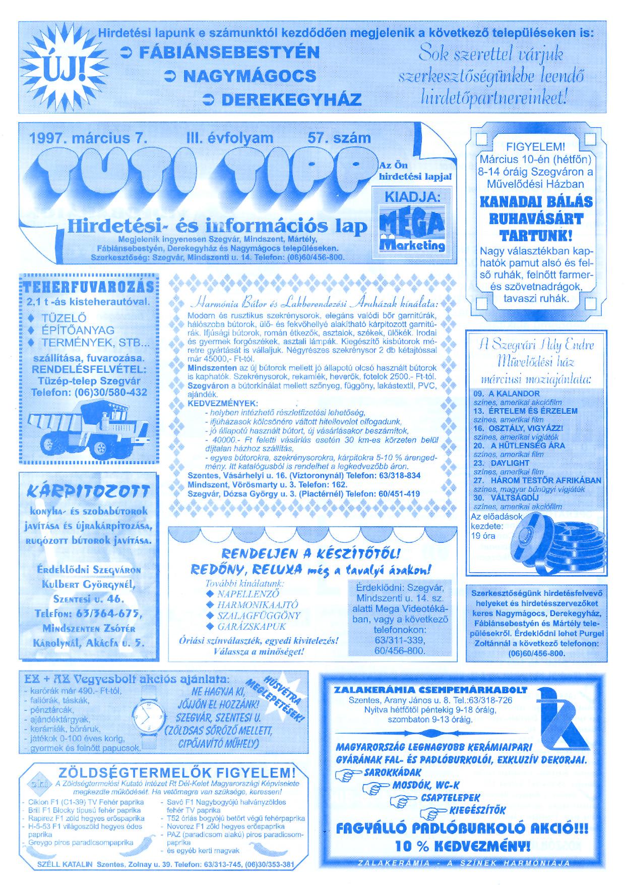007 Tuti Tipp reklámújság - 19970307-057. lapszám - 1.oldal - III. évfolyam.jpg