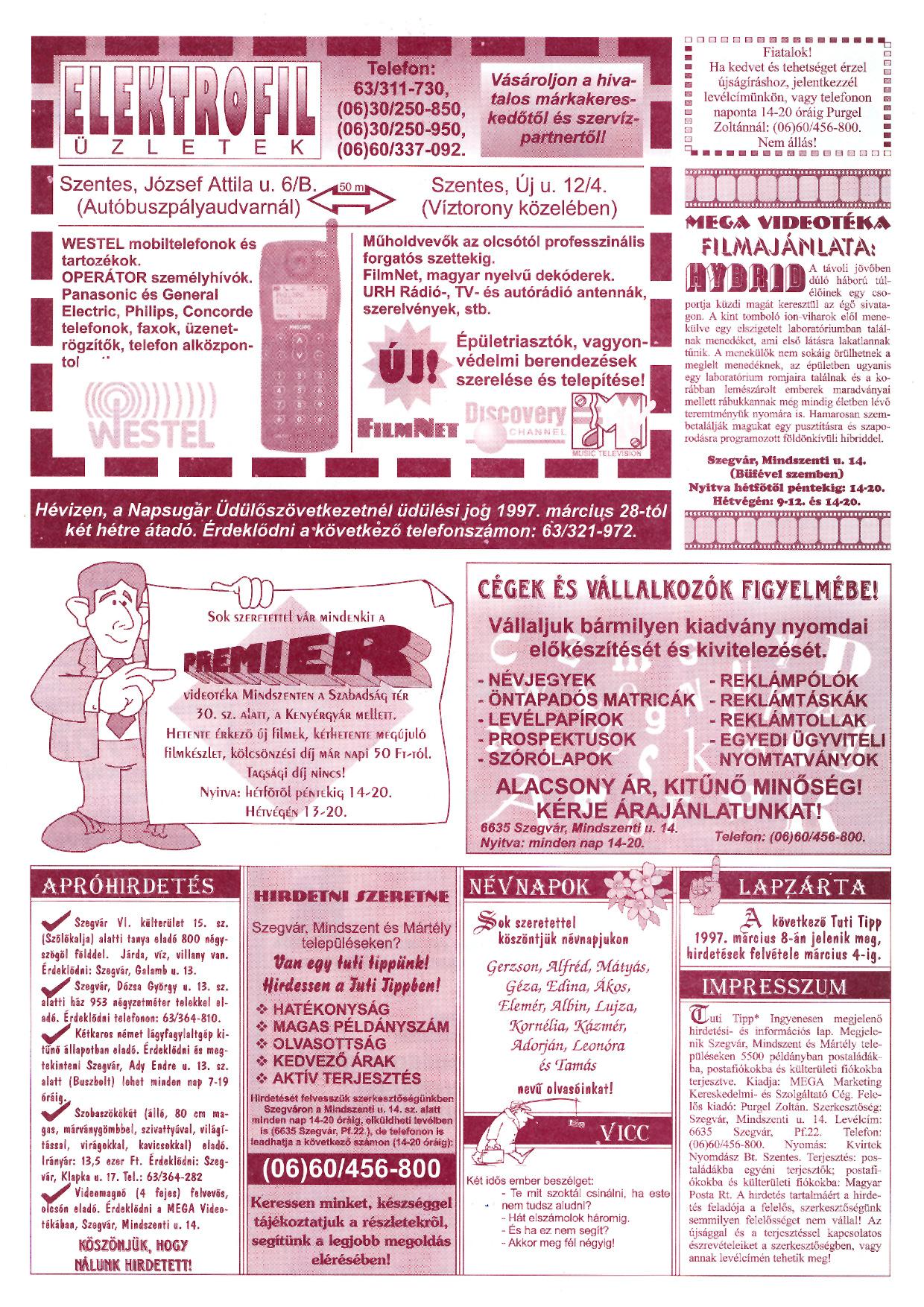 006 Tuti Tipp reklámújság - 19970222-056. lapszám - 2.oldal - III. évfolyam.jpg