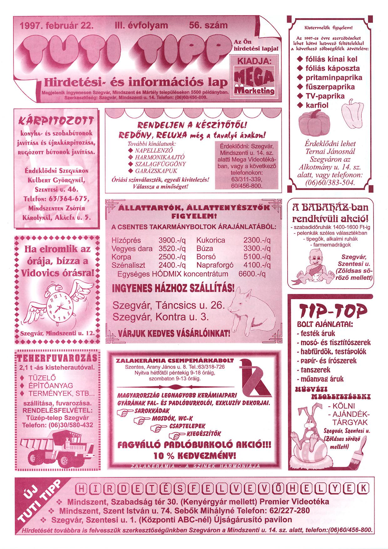 005 Tuti Tipp reklámújság - 19970222-056. lapszám - 1.oldal - III. évfolyam.jpg