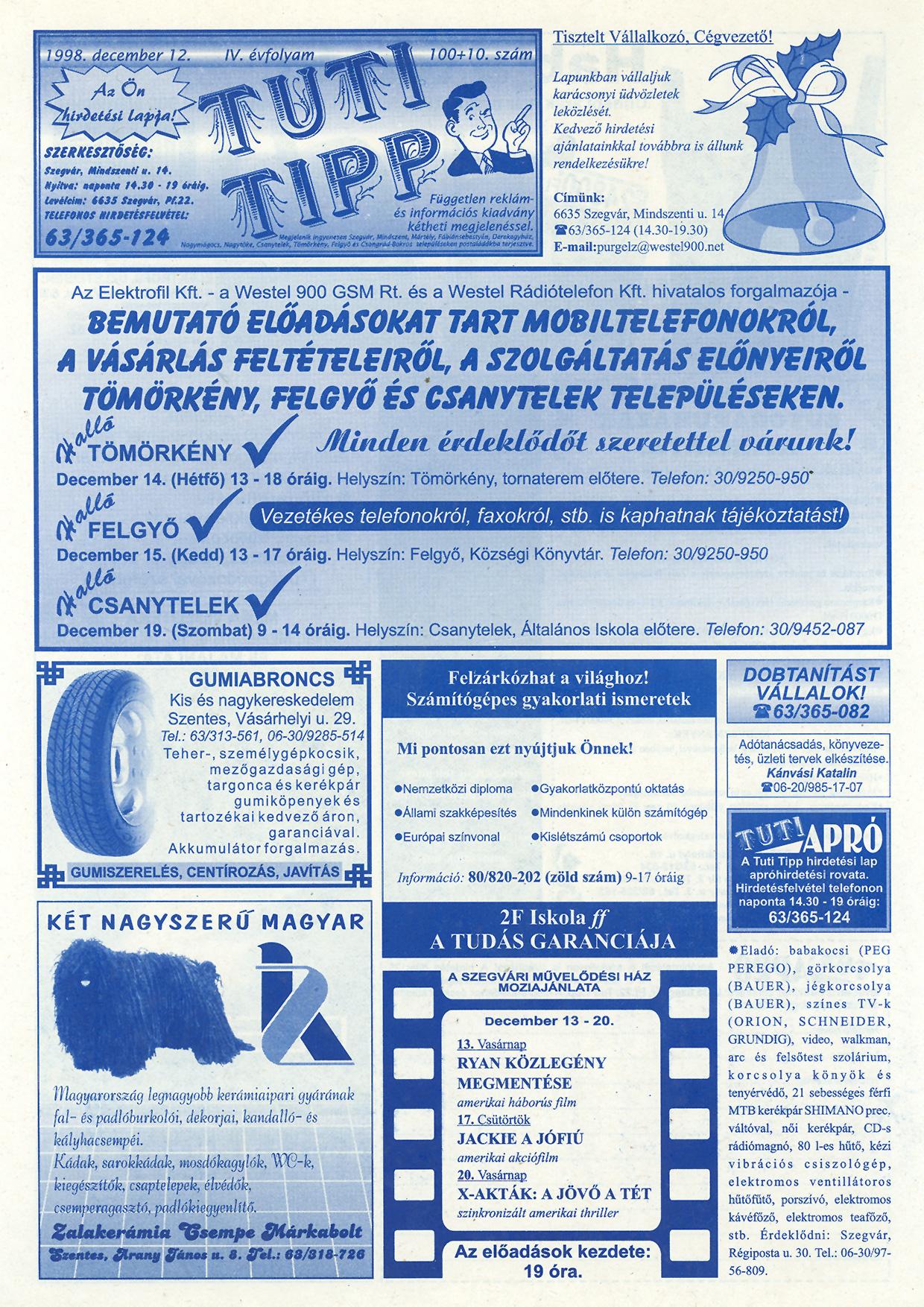 061 Tuti Tipp reklámújság - 19981212-100+010. lapszám - 1.oldal - IV. évfolyam.jpg