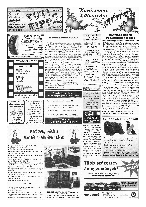 057 Tuti Tipp reklámújság különszám - 19981205-099+009. lapszám - 1.oldal - IV. évfolyam.jpg