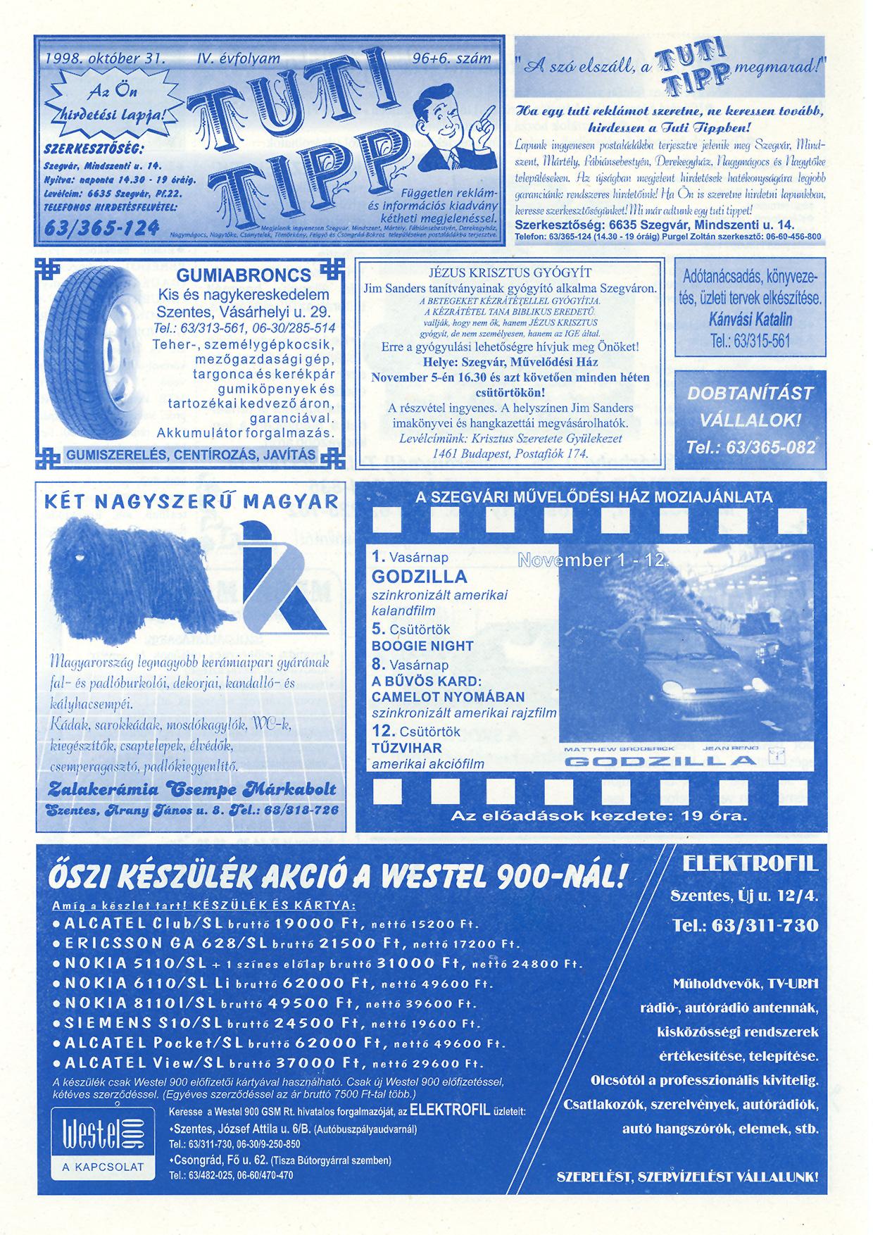 051 Tuti Tipp reklámújság - 19981031-096+006. lapszám - 1.oldal - IV. évfolyam.jpg