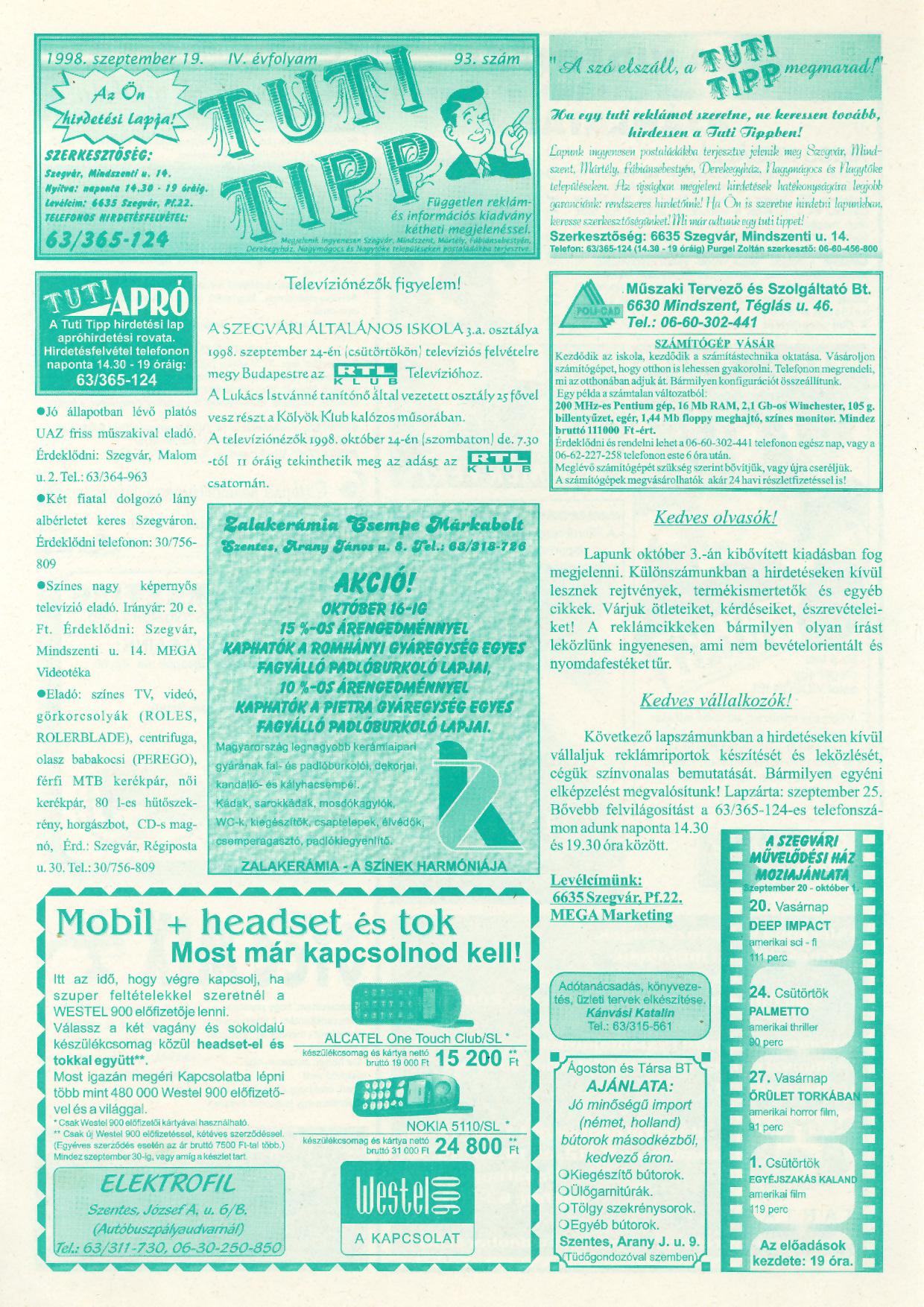043 Tuti Tipp reklámújság - 19980919-093. lapszám - 1.oldal - IV. évfolyam.jpg
