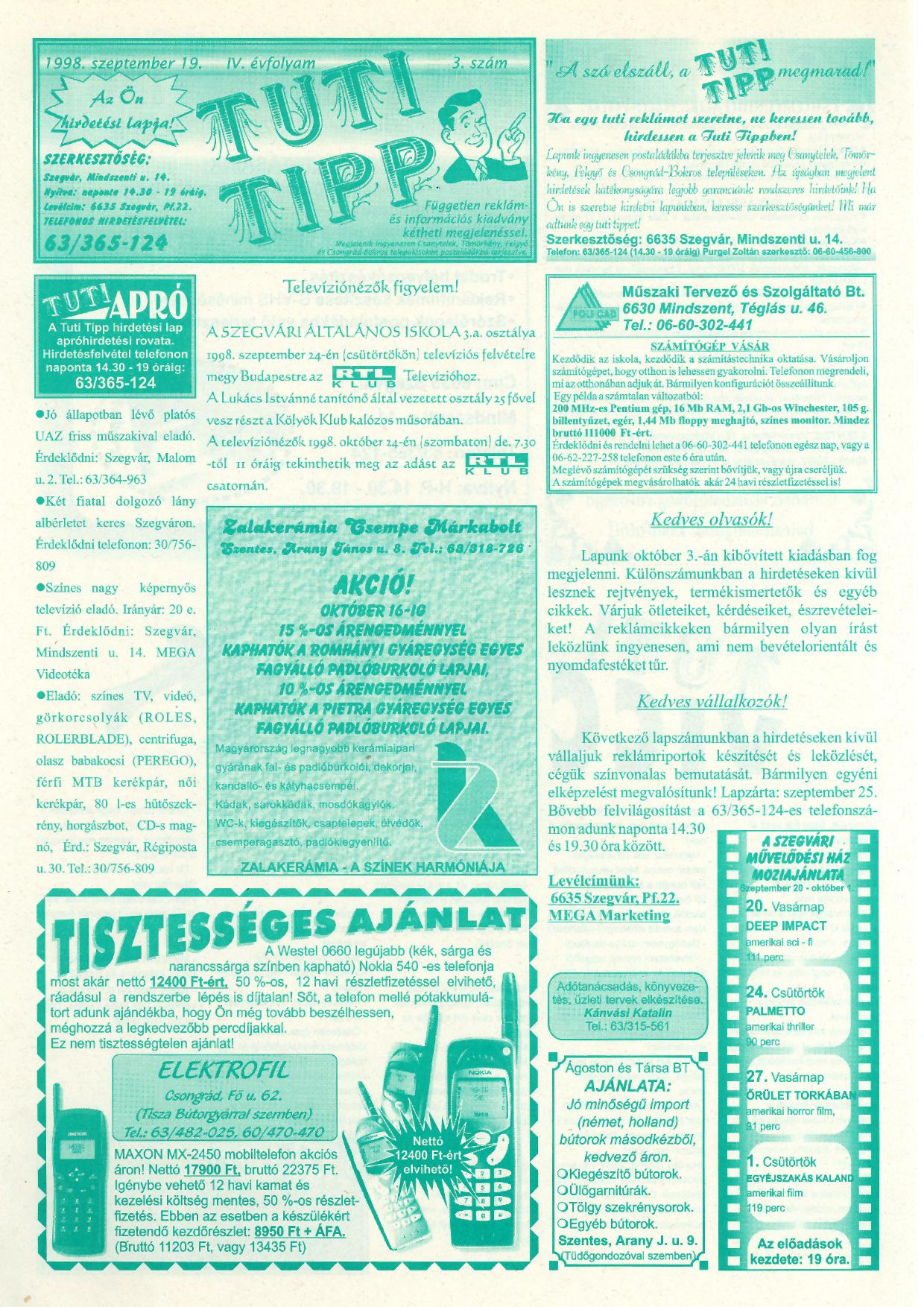 041 Tuti Tipp reklámújság - 19980919-003. lapszám - 1.oldal - IV. évfolyam.jpg