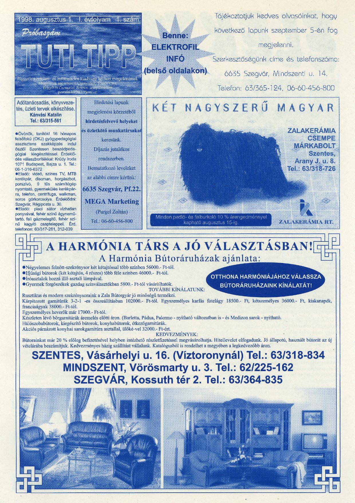 029 Tuti Tipp reklámújság - 19980801-001. lapszám - 1.oldal - IV. évfolyam.jpg
