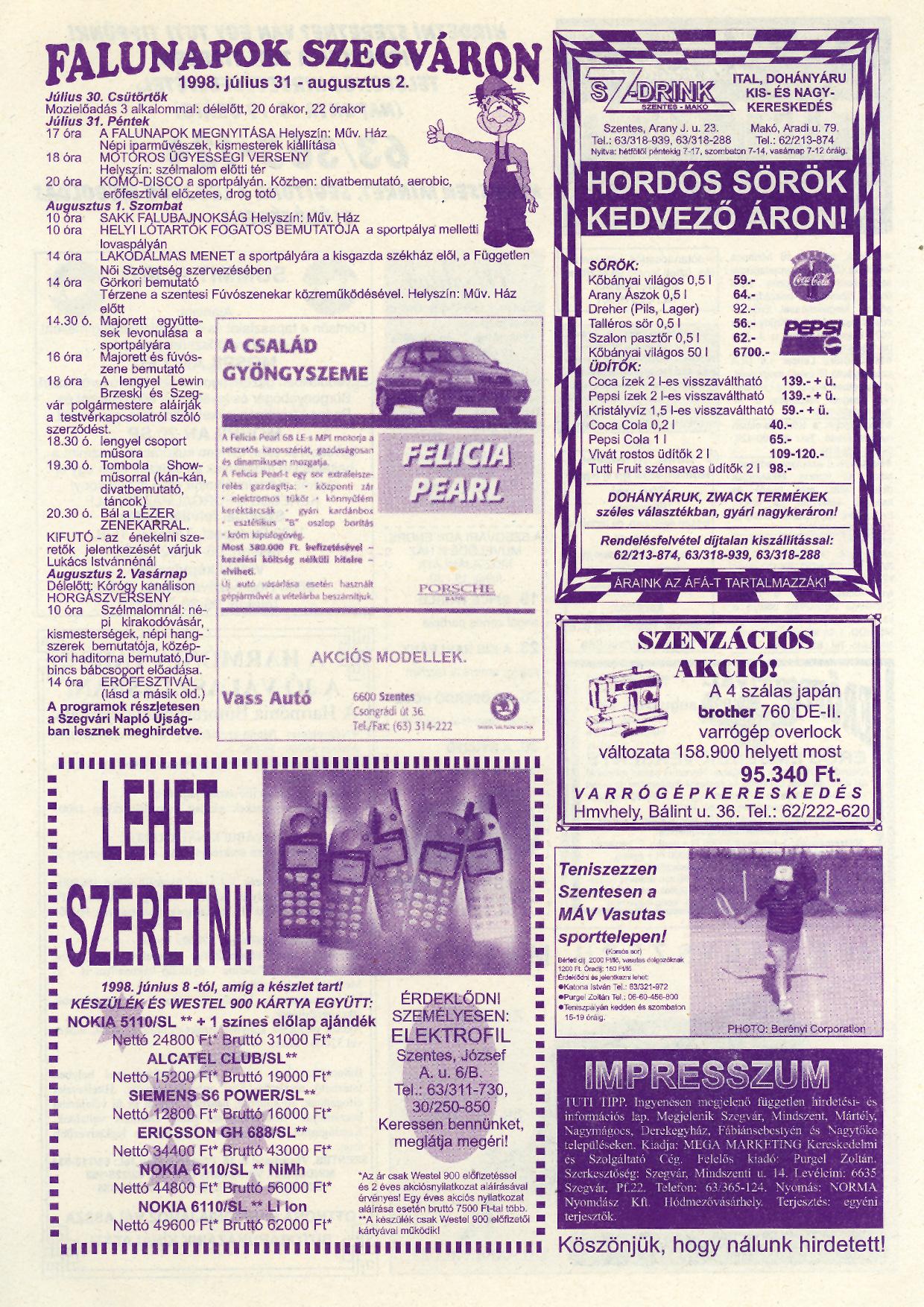 028 Tuti Tipp reklámújság - 19980718-090. lapszám - 2.oldal - IV. évfolyam.jpg