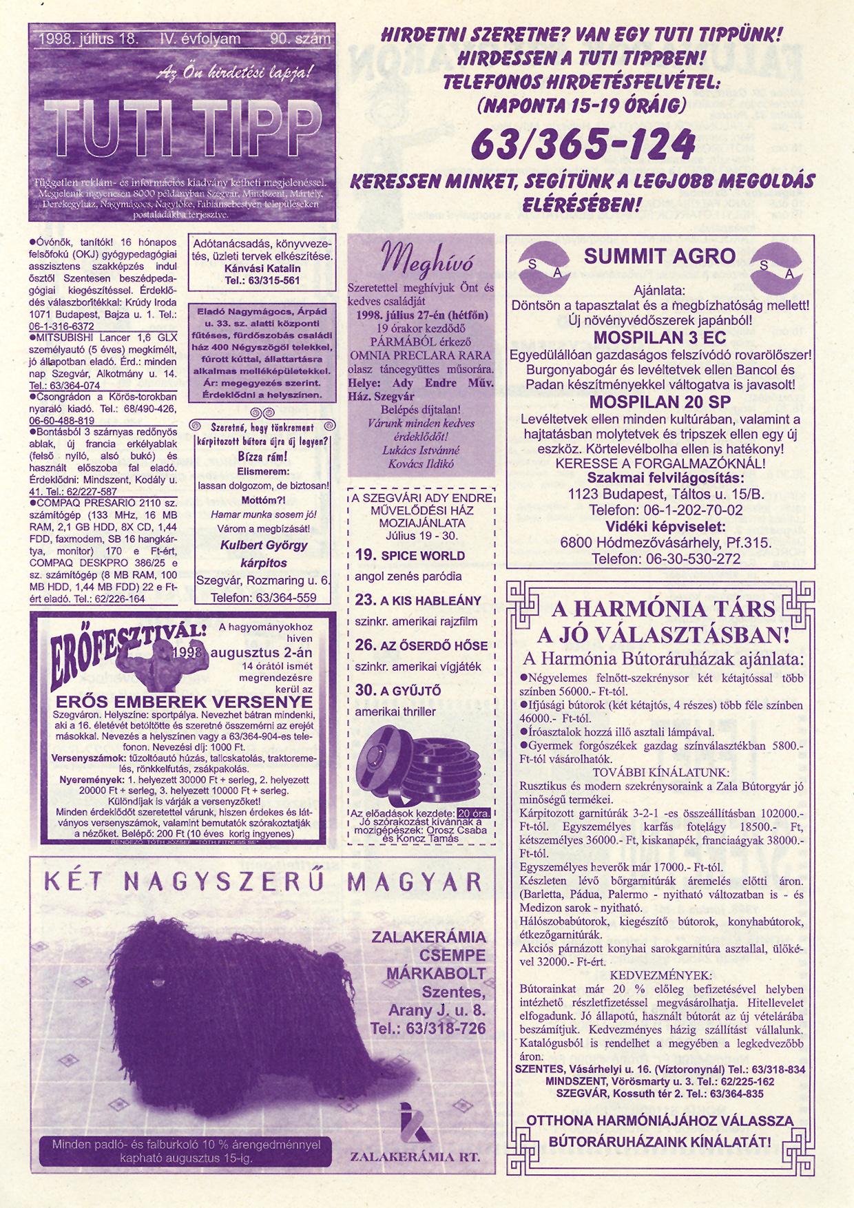 027 Tuti Tipp reklámújság - 19980718-090. lapszám - 1.oldal - IV. évfolyam.jpg