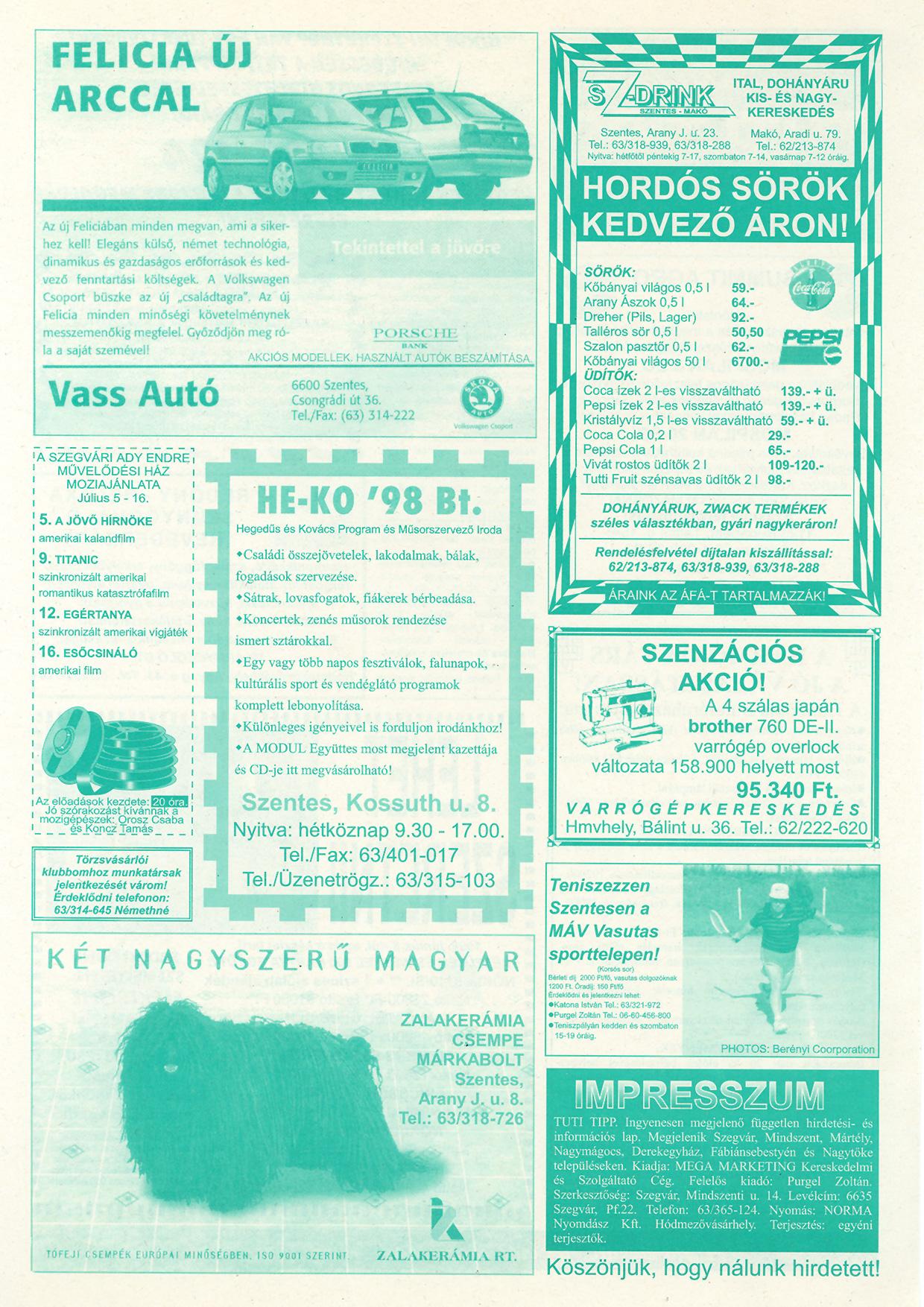 026 Tuti Tipp reklámújság - 19980704-089. lapszám - 2.oldal - IV. évfolyam.jpg