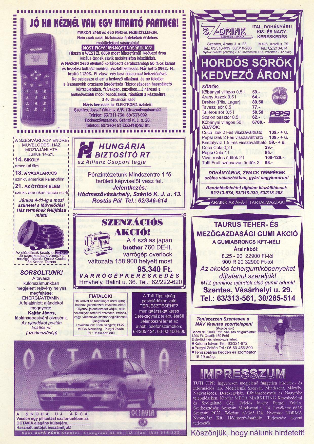 022 Tuti Tipp reklámújság - 19980606-087. lapszám - 2.oldal - IV. évfolyam.jpg