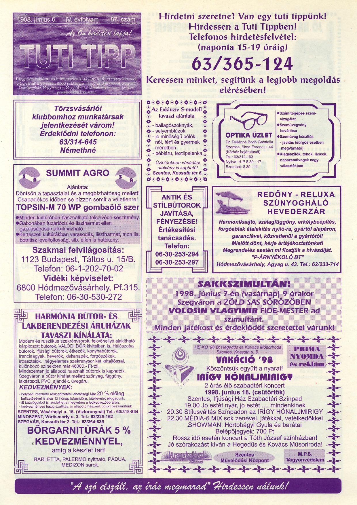021 Tuti Tipp reklámújság - 19980606-087. lapszám - 1.oldal - IV. évfolyam.jpg