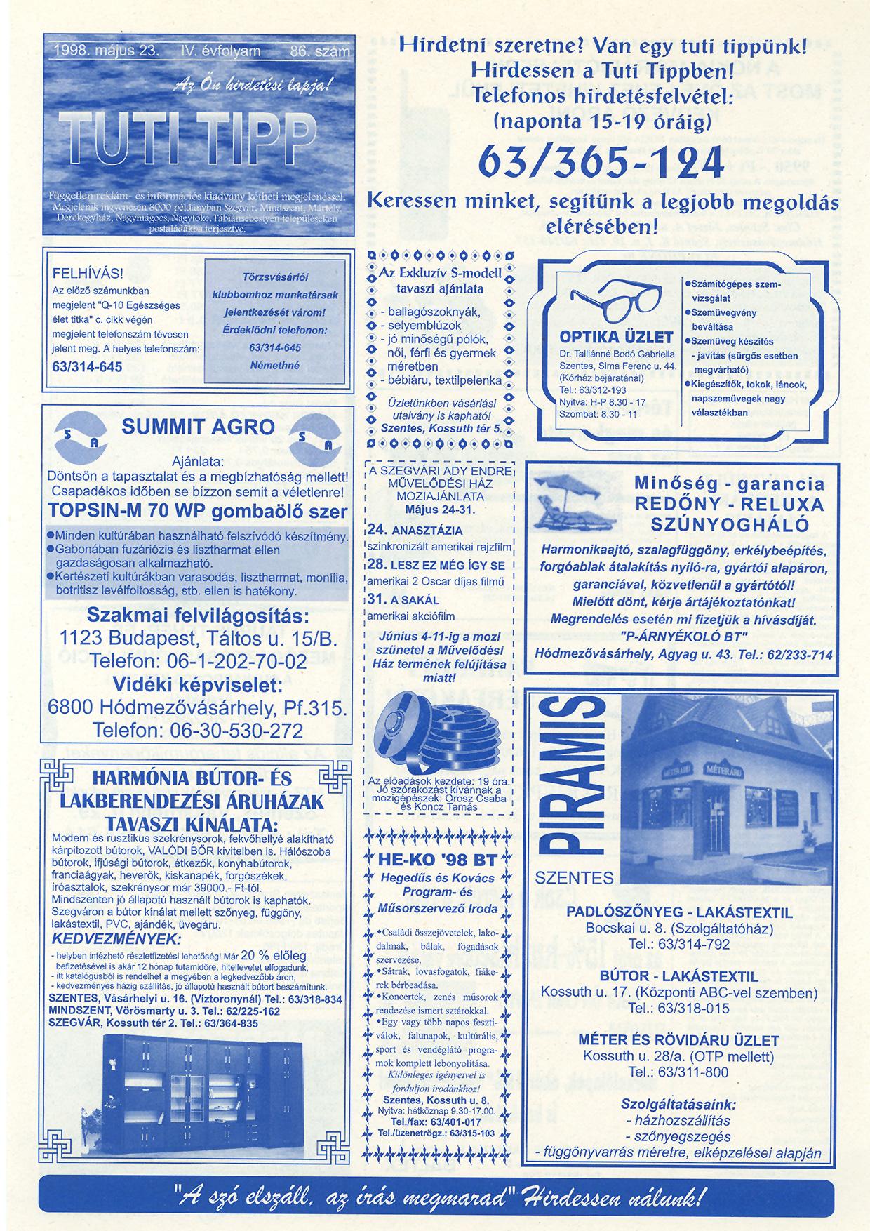 019 Tuti Tipp reklámújság - 19980523-086. lapszám - 1.oldal - IV. évfolyam.jpg
